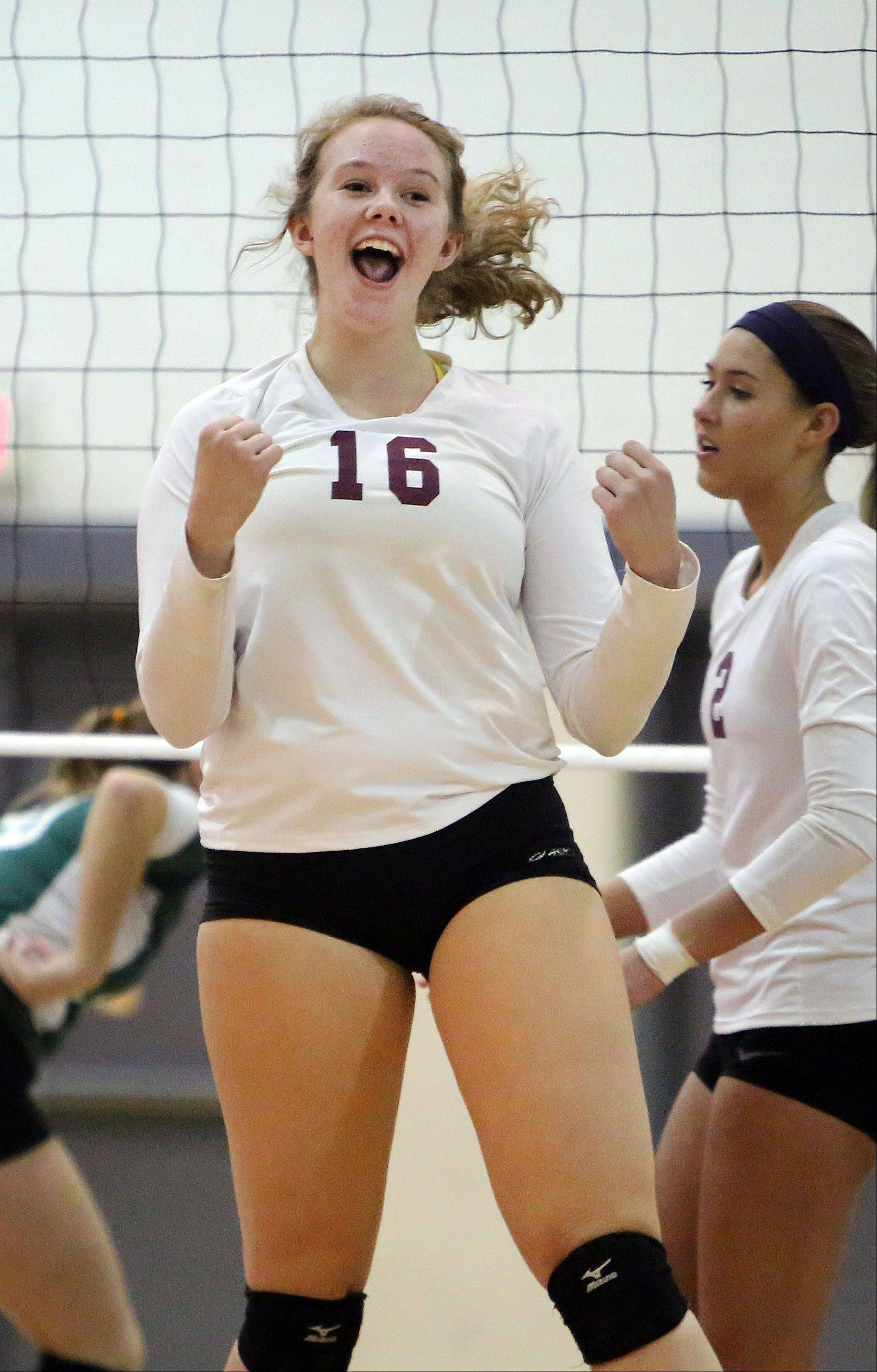 Antioch's Sam Falco celebrates after a win during the Sequoits' regional semifinal win over Grayslake Central.