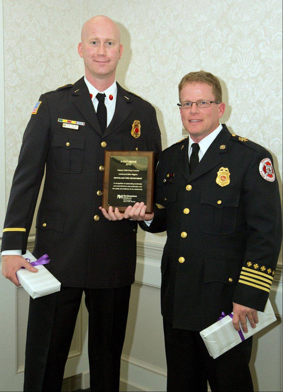 Lieutenant Mike Higgins and Deputy Chief Greg Formica of the Grayslake Fire Department at the A Cut Above Award Ceremony for first responders at Northwestern Lake Forest Hospital.