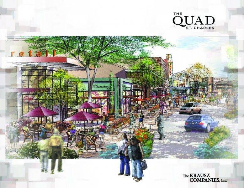 An artist's rending of the proposed new southeast entrance of The Quad St. Charles. The property was formerly known as Charlestowne Mall, but new owners have taken over.