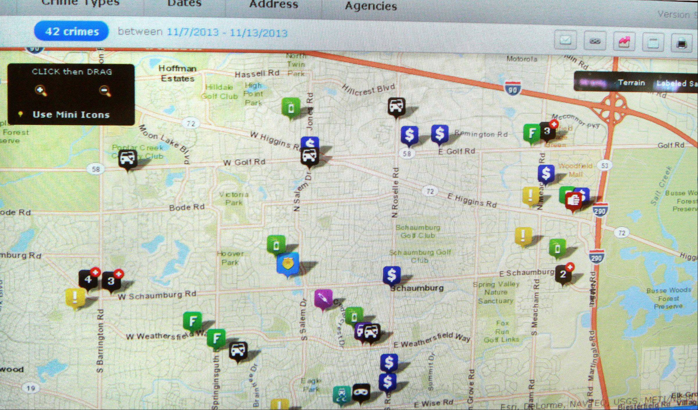 The website crimemapping.com displays the locations and types of crime reported in Schaumburg over the course of the previous week.