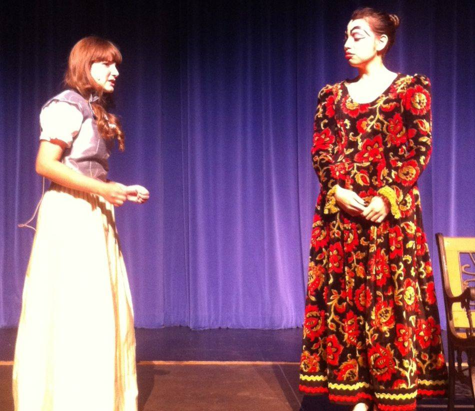 "Jenna Kohn plays Sariella (young Cinderella) and Priscilla Torres plays the evil stepmother in ""Cinderella"" at Larkin High School."