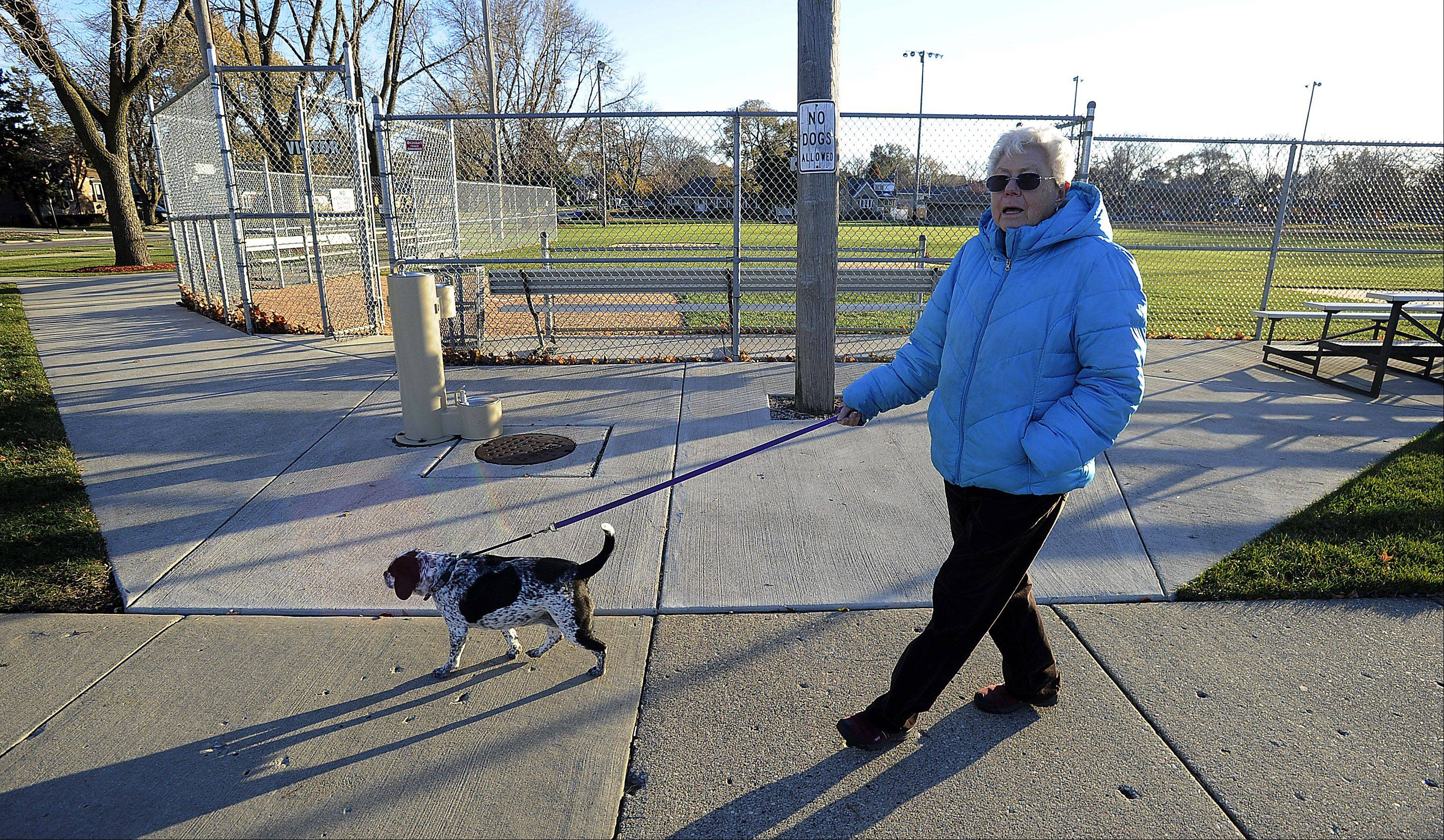 Elsie Fregeau of Rosemont walks her dog Wednesday past Margaret J. Lange Park, where officials have banned dogs because of safety concerns. Residents are permitted to walk their dogs on the public sidewalk, but not in the park.