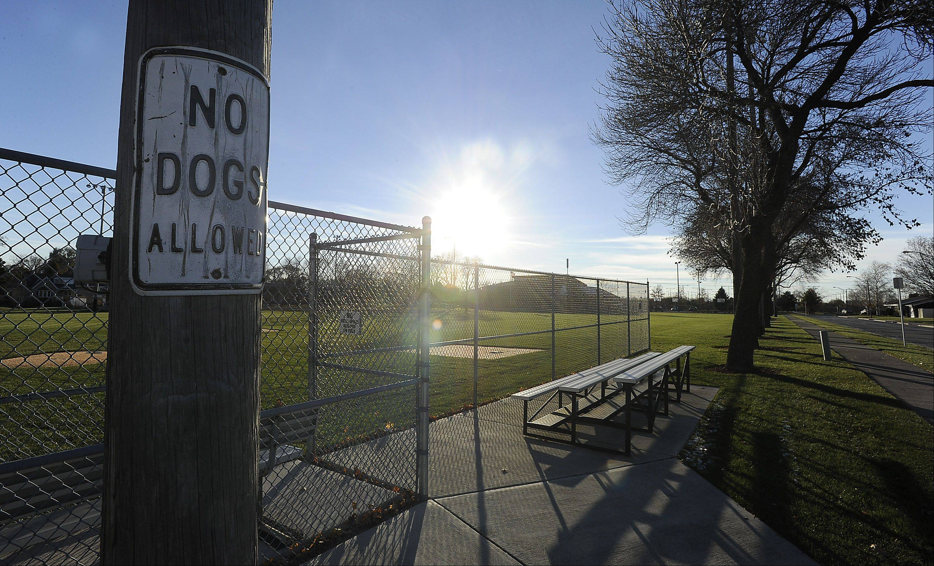 Dogs have been banned from Margaret J. Lange Park in Rosemont for safety reasons, park district officials said. The park district updated its policy this week to bring it in line with what had been village practice, as reflected in this existing sign.