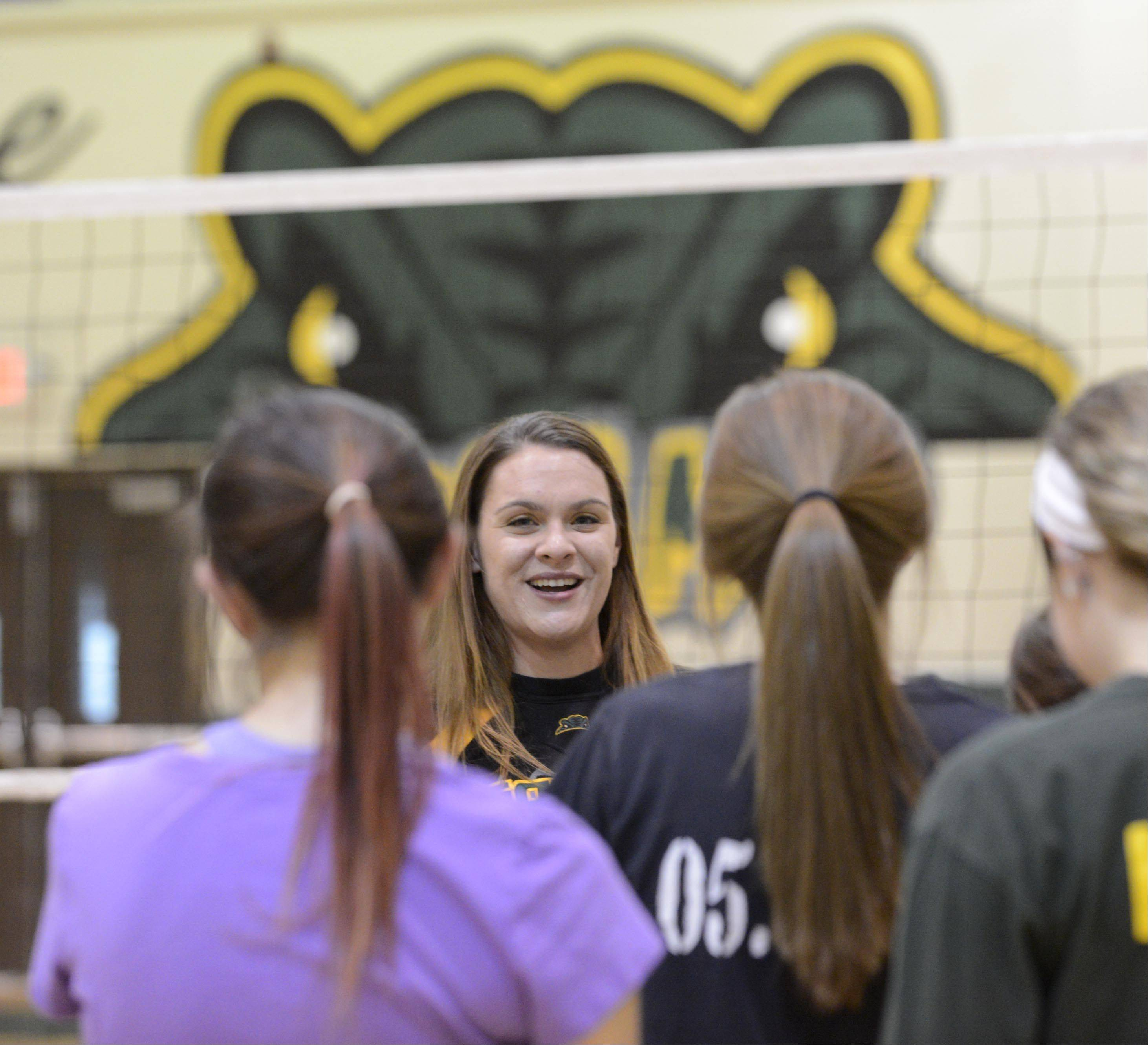 Crystal Lake South girls volleyball coach Jorie Fontana with her team Wednesday.