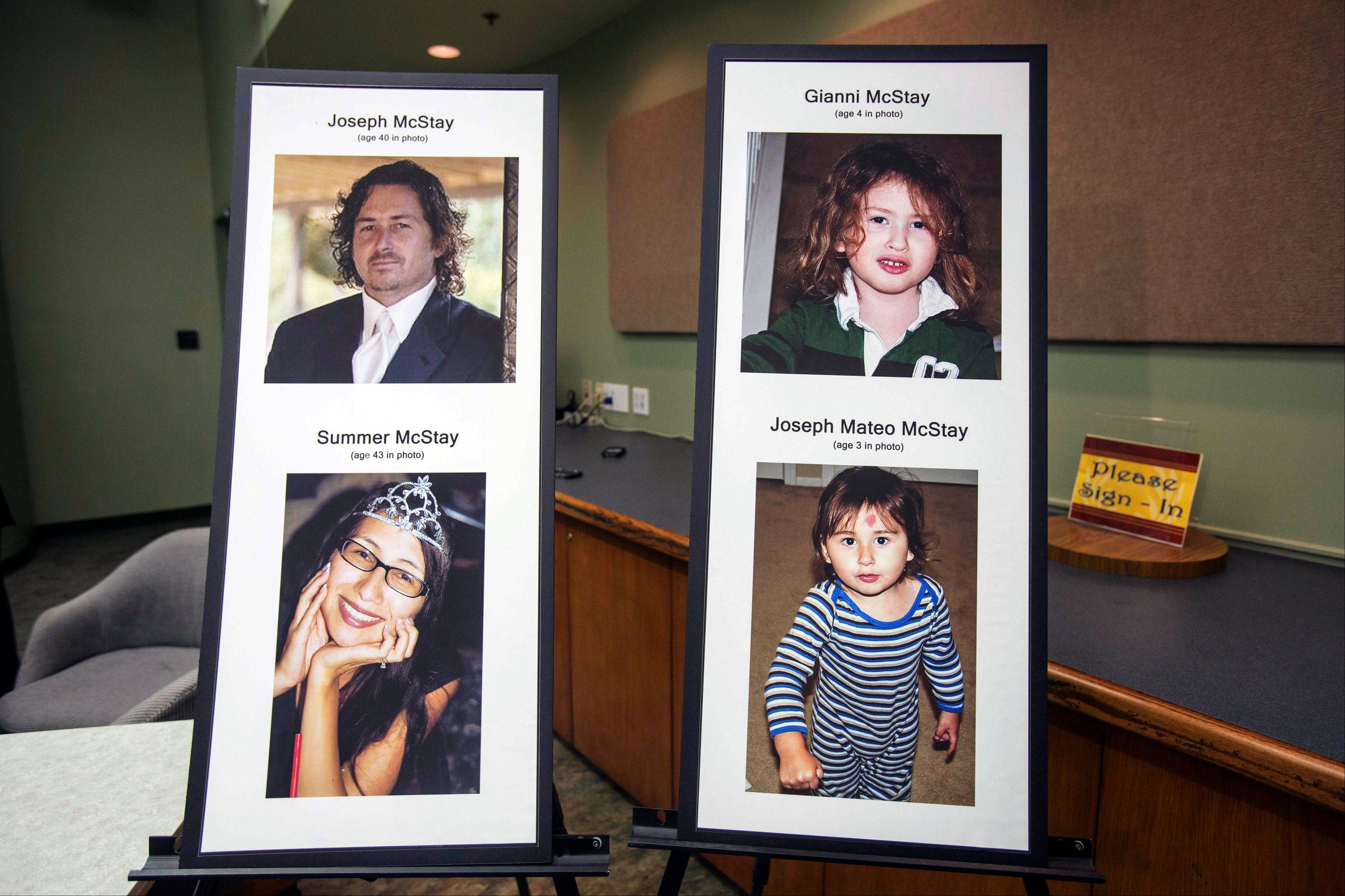 This photo display at a press conference at the San Bernardino County Sheriffís Department headquarters in San Bernadino, Calif., shows Joseph and Summer McStay, and their children Gianni and Joseph Mateo, who disappeared in 2010 from their San Diego home.
