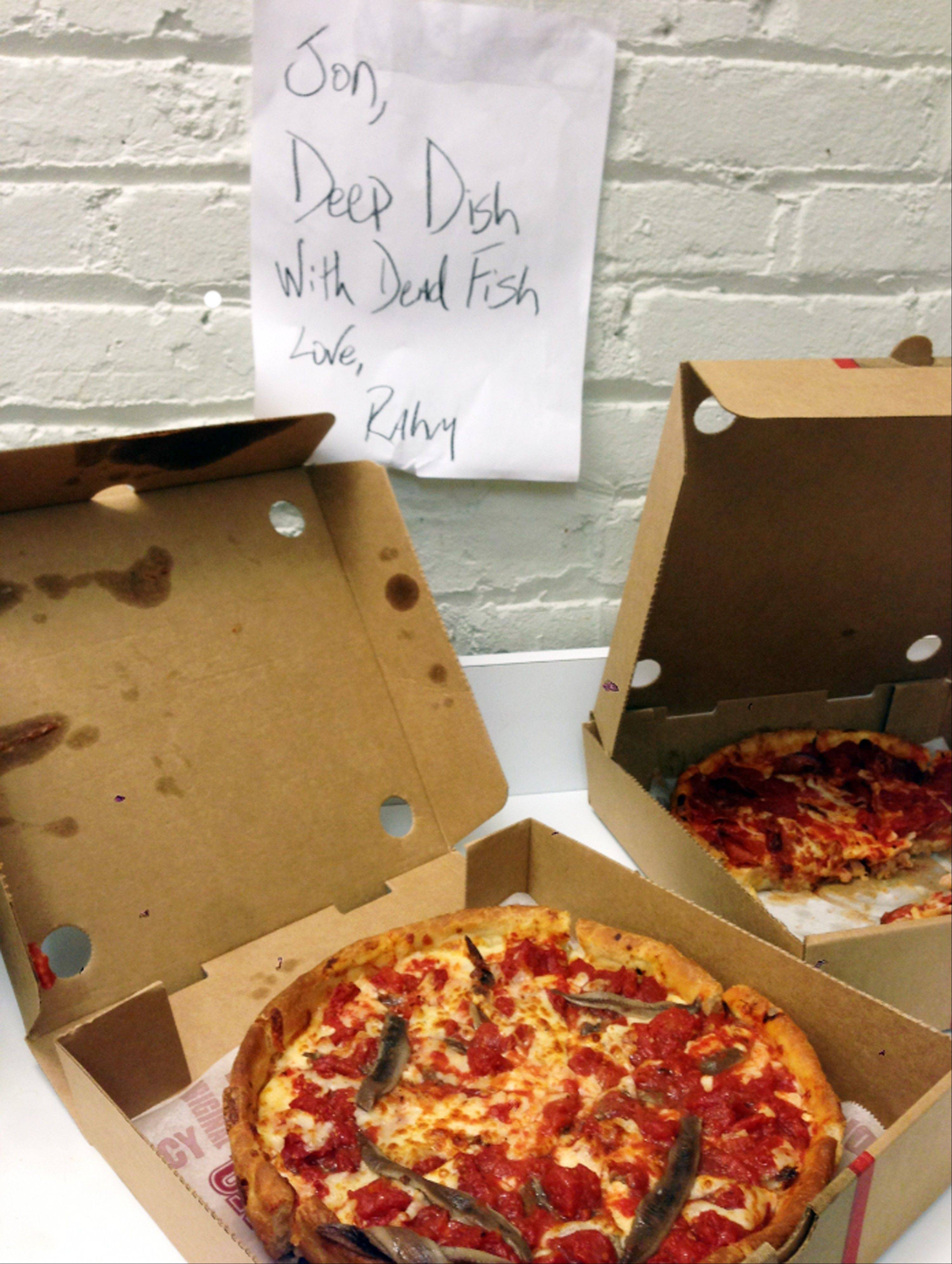Associated Press/provided by The Daily Show Two Chicago-style deep-dish pizzas that were sent to comedian Jon Stewart accompanied by a note saying: Jon, Deep Dish With Dead Fish. Love, Rahm.