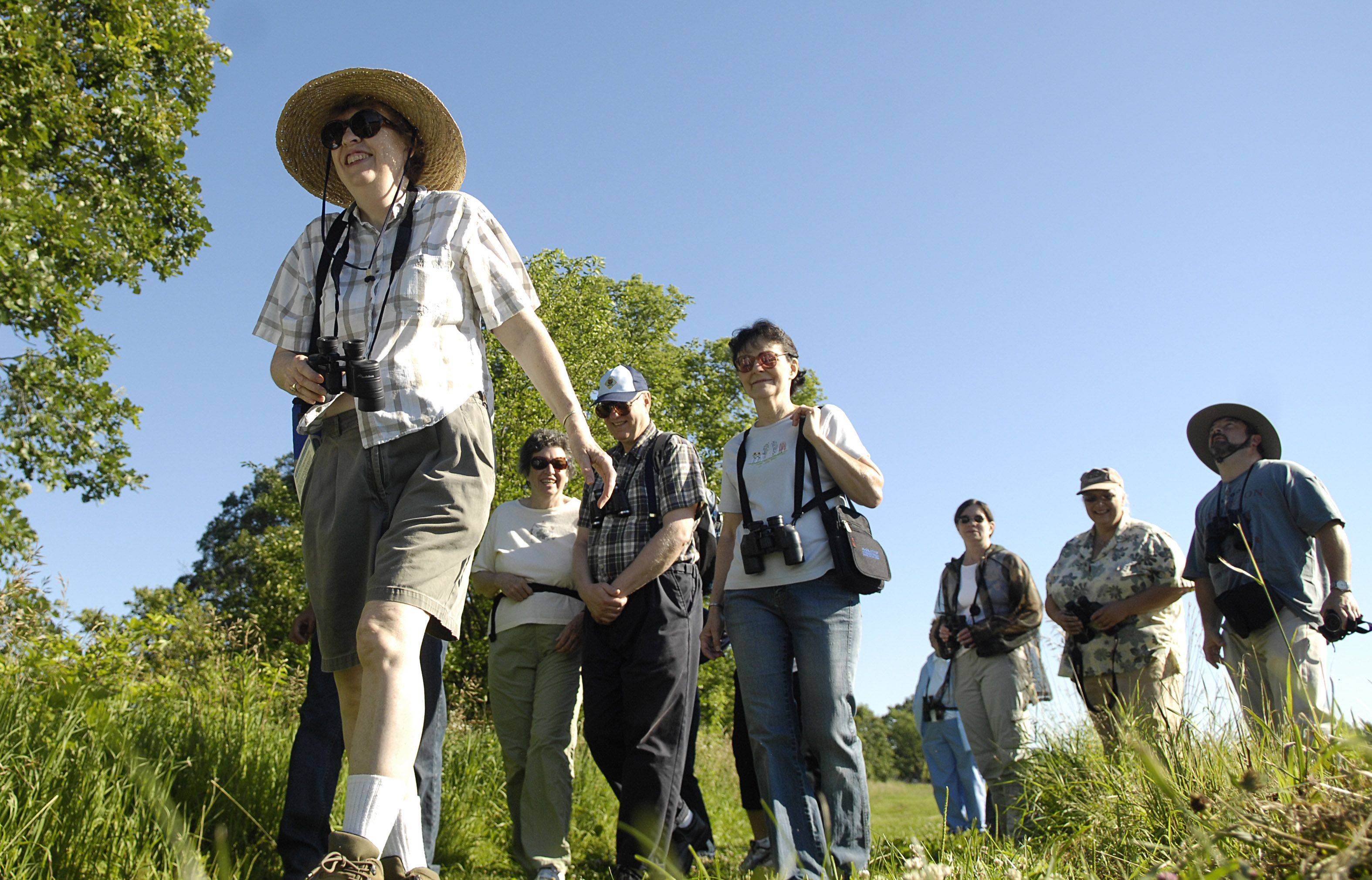 Bird watchers hike near Nelson Lake/Dick Young Forest Preserve in Batavia.