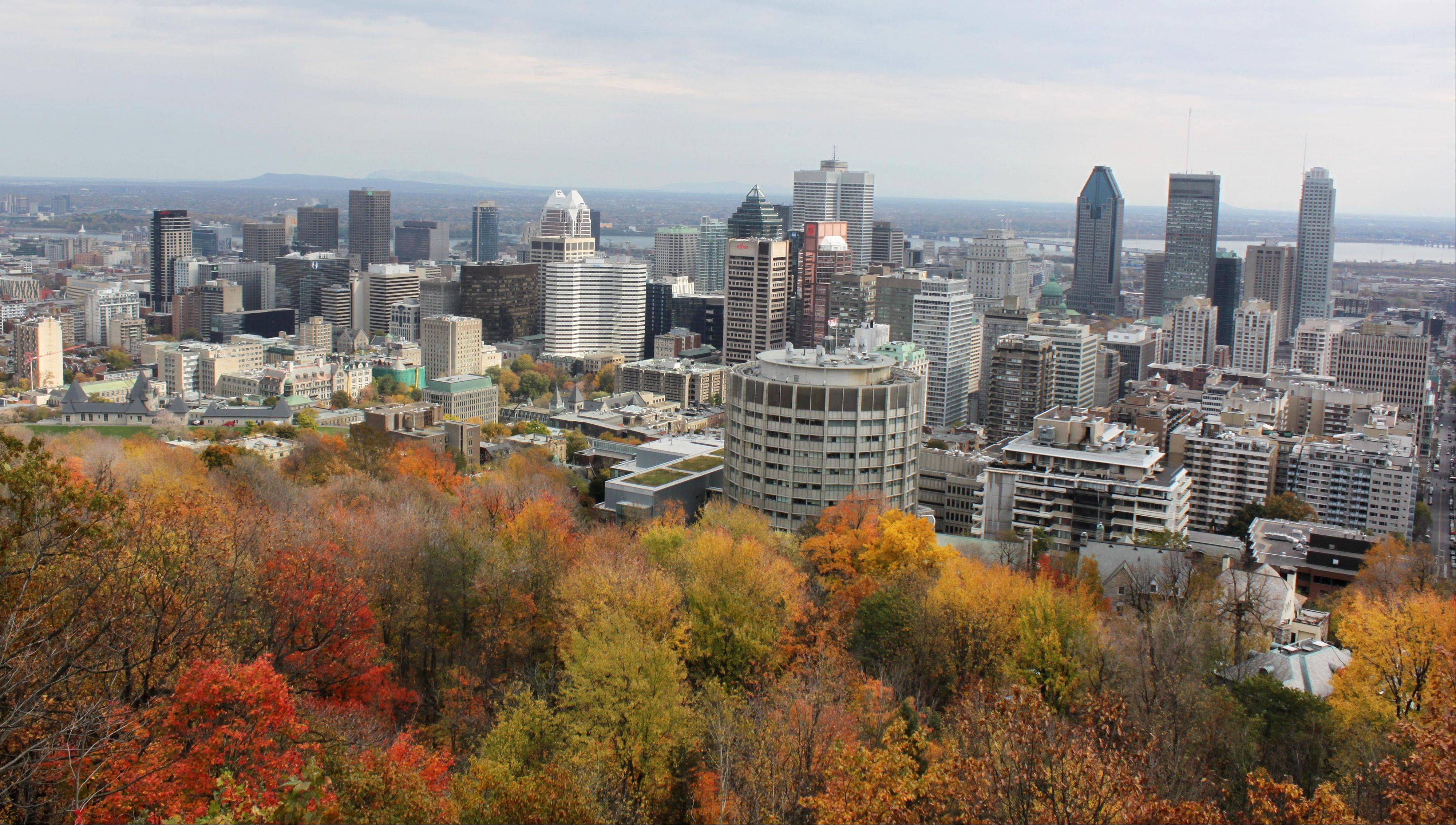 Visitors can get a nice view of downtown Montreal from Mount Royal park, which is free to explore.