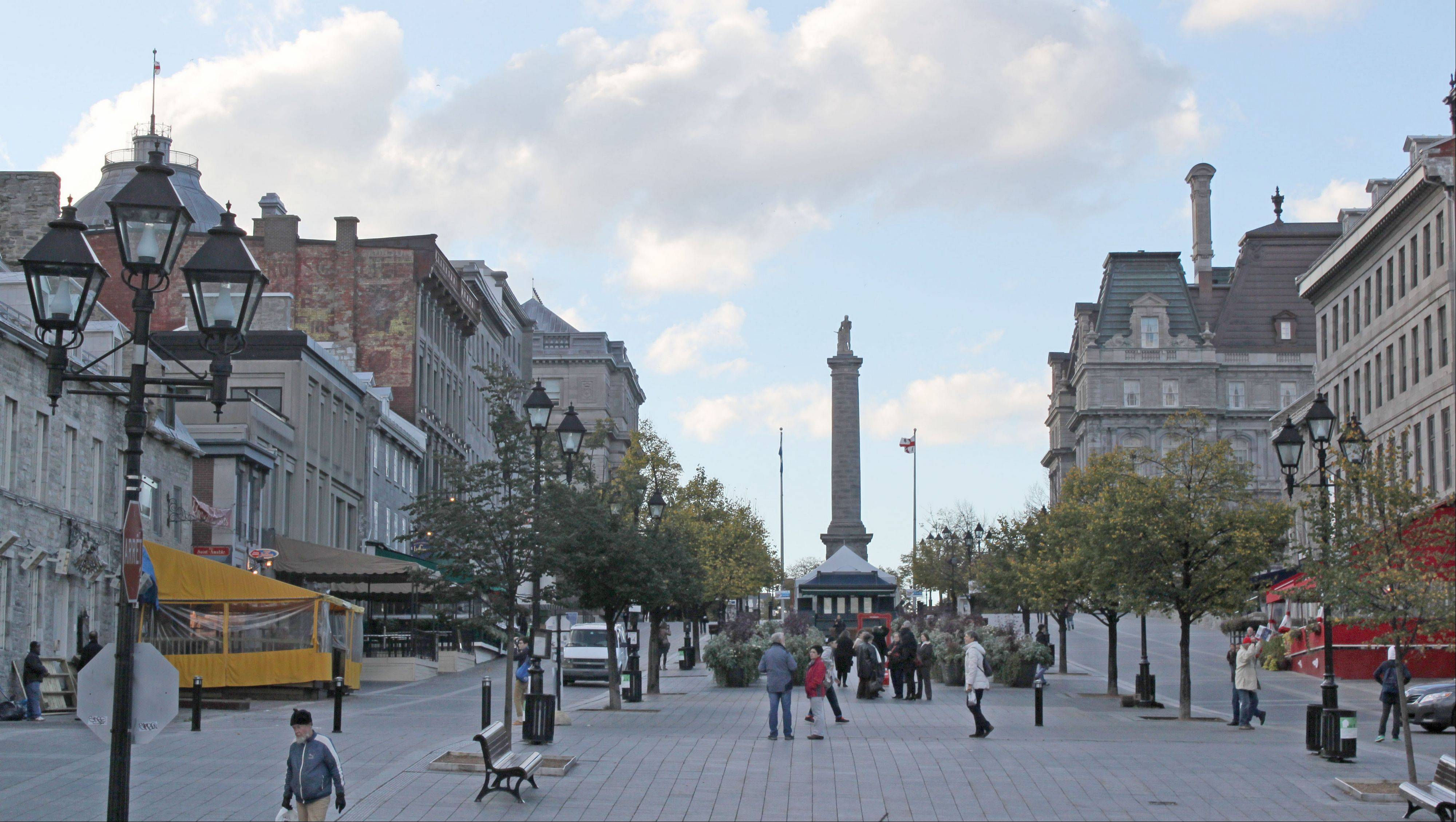 Take a walk along the historic square Place Jacques-Cartier in Old Montreal.