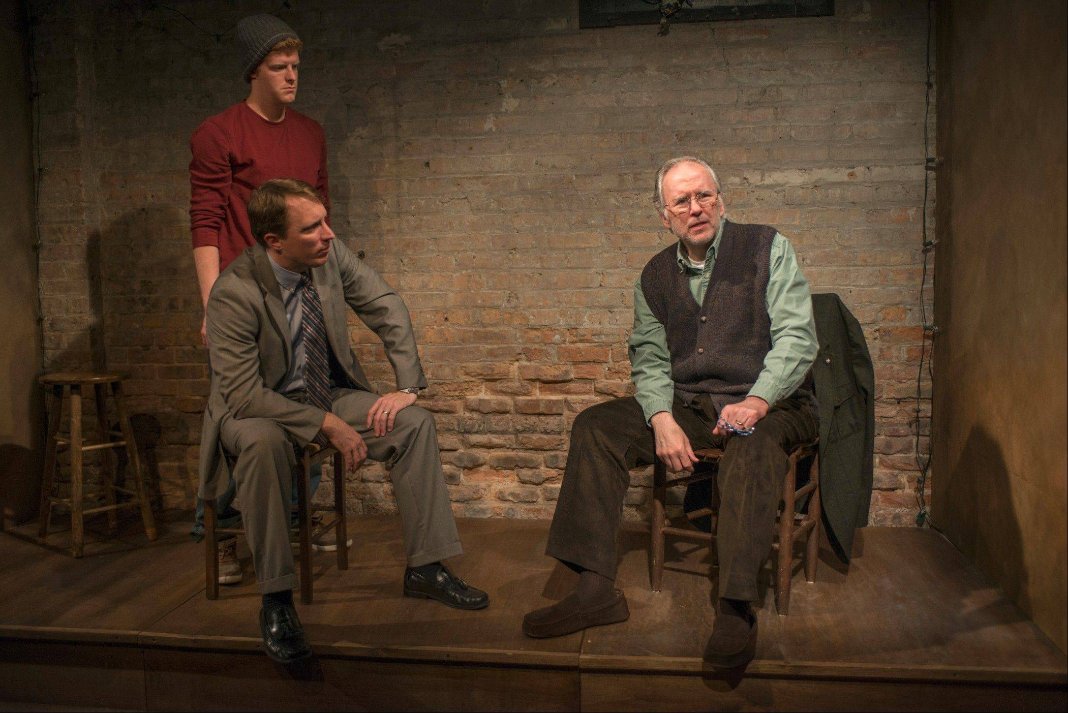 "Rob Fenton, from left, John Hoogenakker and Patrick Clear play three Dublin men yearning for what they can't have in the Writers Theatre production of Conor McPherson's ""Port Authority,"" directed by recent Jeff Award-winner William Brown. At the performance reviewed in this article, understudy John Gray performed in Hoogenakker's place."