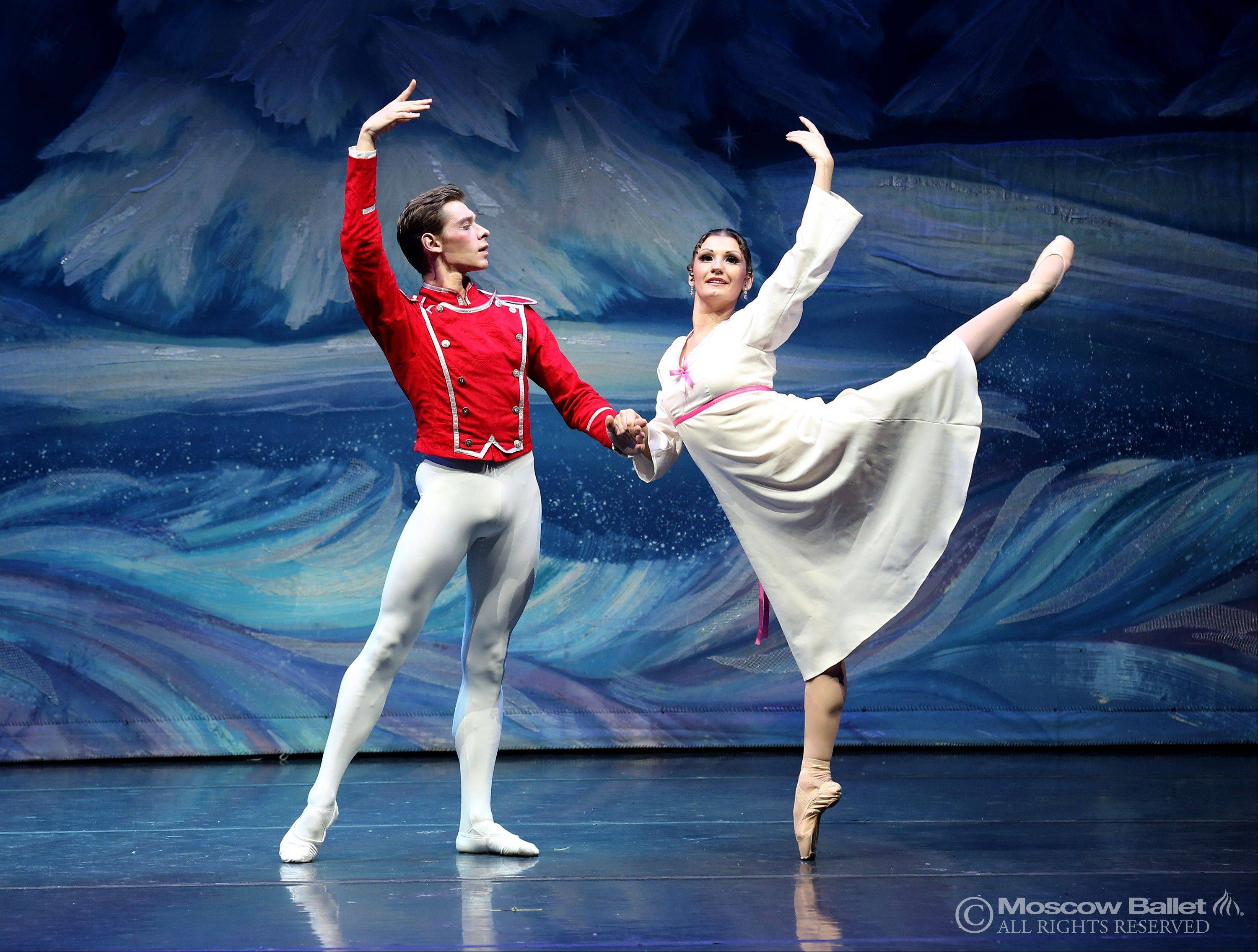"Masha (Olga Kifyak) and the Nutcracker Prince (Viktor Shcherbakov) dance against a snowy backdrop in a previous edition of Moscow Ballet's touring ""Great Russian Nutcracker."" The production returns on Sunday, Dec. 8, to the Rosemont Theatre."