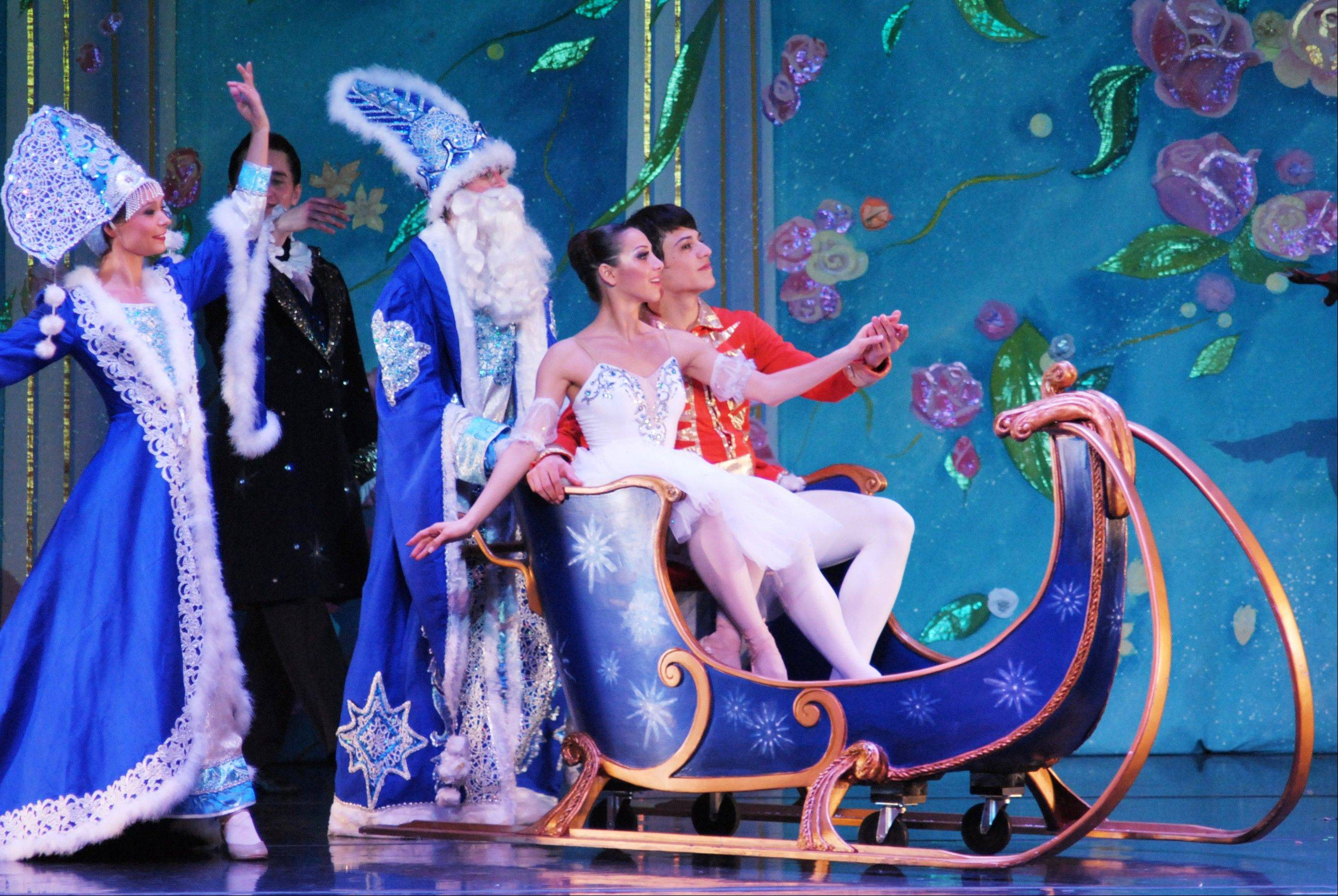 "Masha (Karyna Shatkovskaya) and the Nutcracker Prince (Vladimir Tkachenko) ride in a sleigh in a previous edition of Moscow Ballet's touring ""Great Russian Nutcracker."" The production returns on Sunday, Dec. 8, to the Rosemont Theatre."