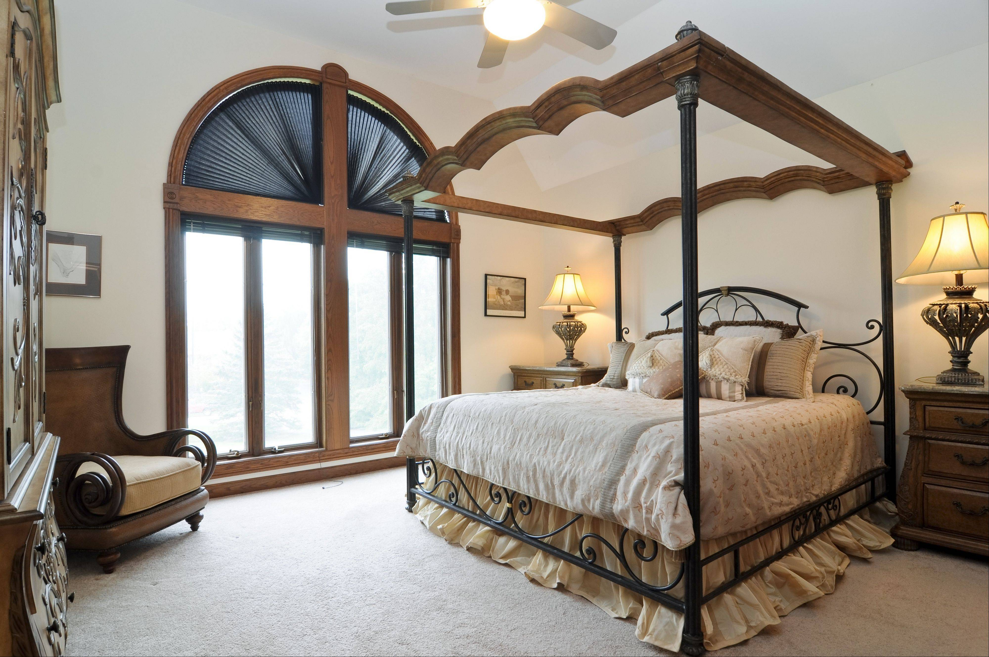 Views of the wooded area can be seen out of the master suite windows.