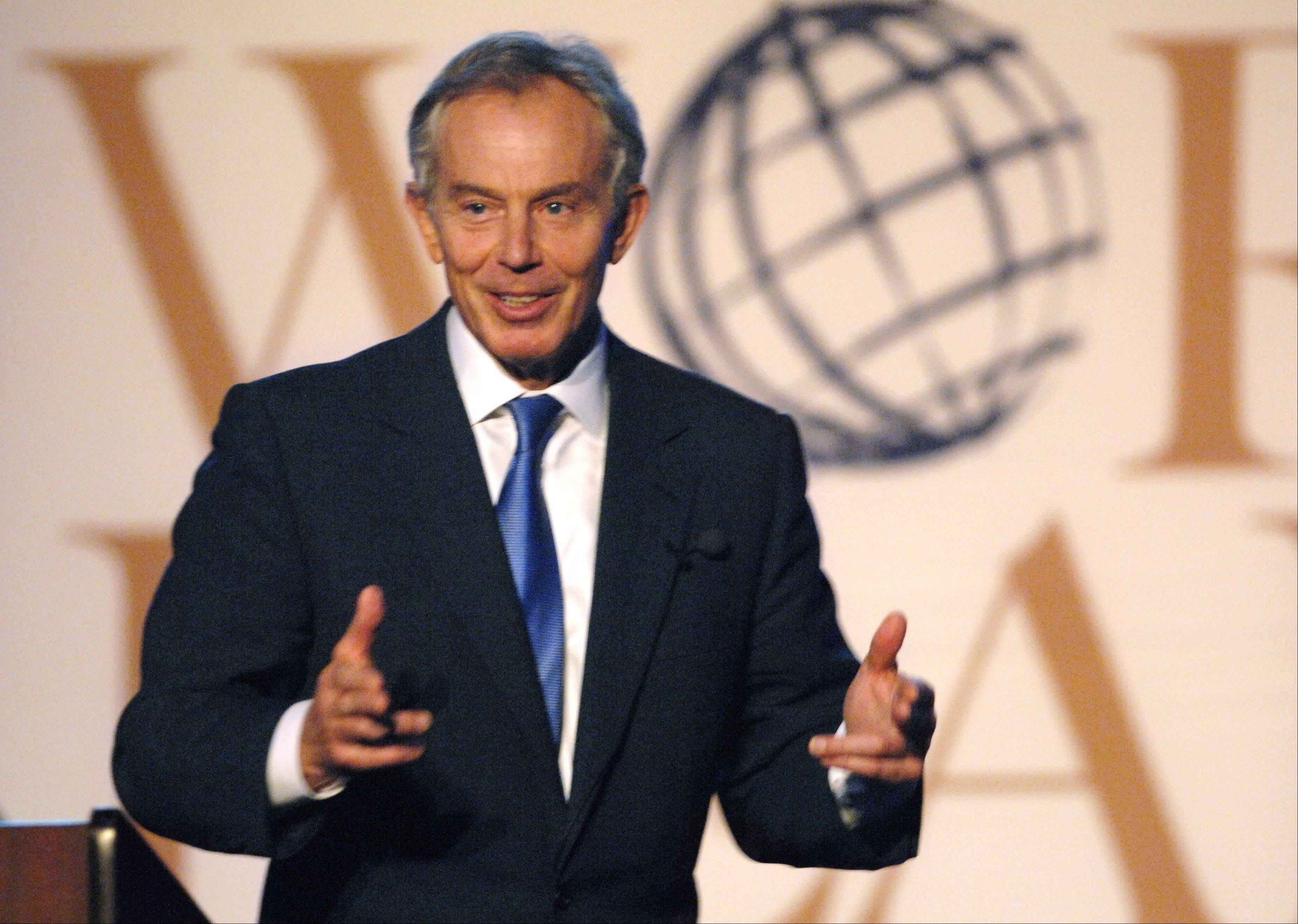 Former British Prime Minister Tony Blair speaks at the World Leaders Forum at Judson University's Herrick Chapel in April.
