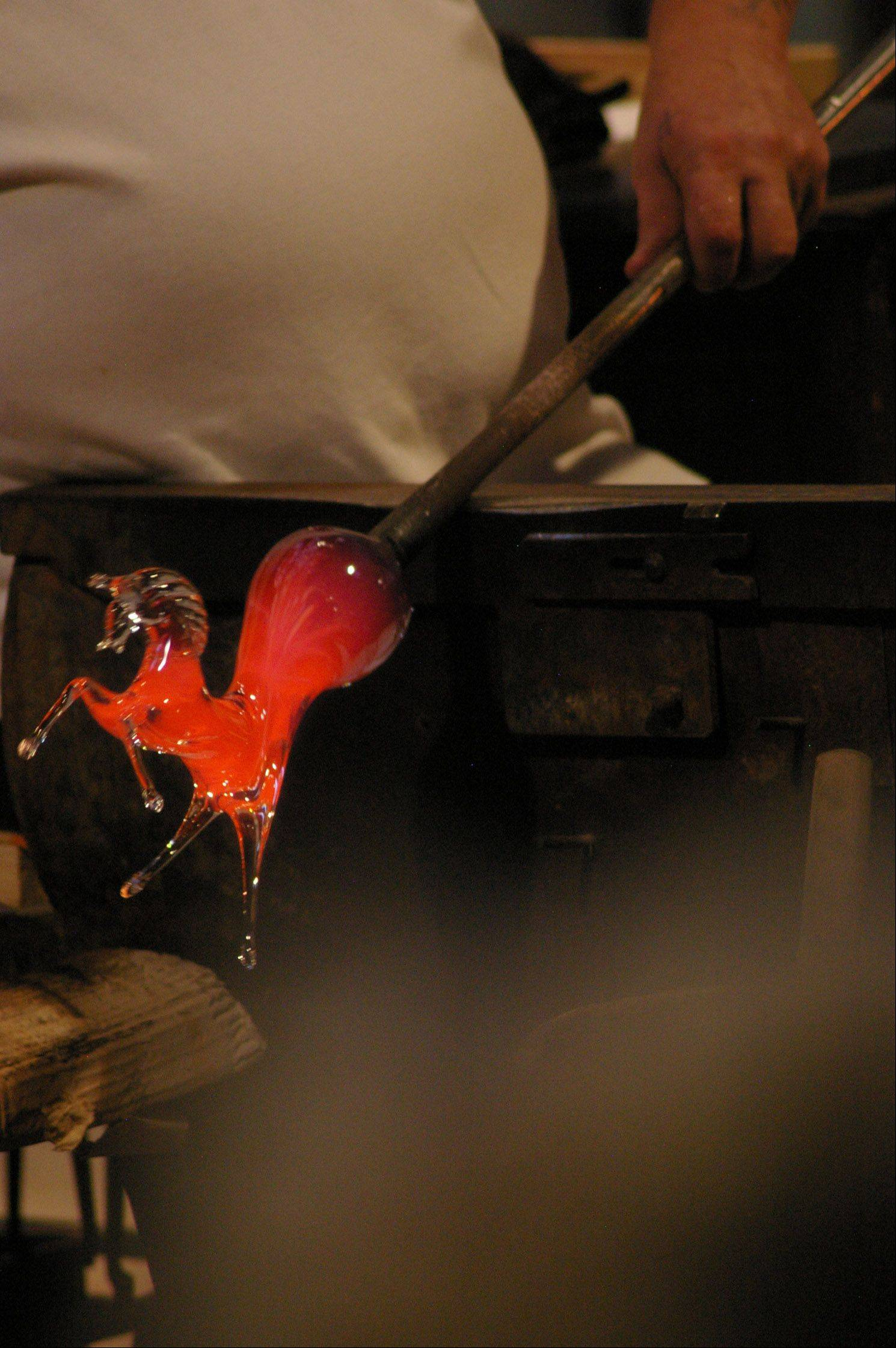 A Murano glassblower created this horse in less than five minutes during a factory demonstration on October 11th in Venice, Italy.