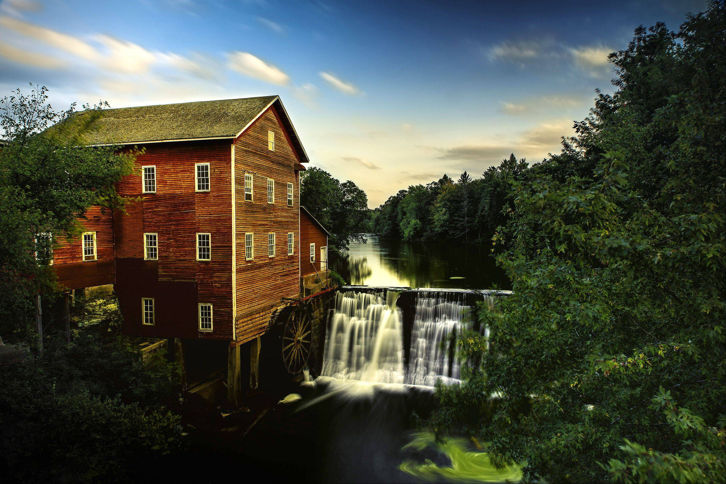 This is Dells Mill and Museum located about 4 miles north of Augusta Wisconsin and approximately 20 southeast of Eau Claire. The mill was built during the Civil War and while no longer a functioning mill is currently a museum operated by proprietor Gus Clark. This shot is a composite of 2 exposures using a variable ND filter to achieve the silky water look. It was taken shortly before sunset during a mid-September trip.