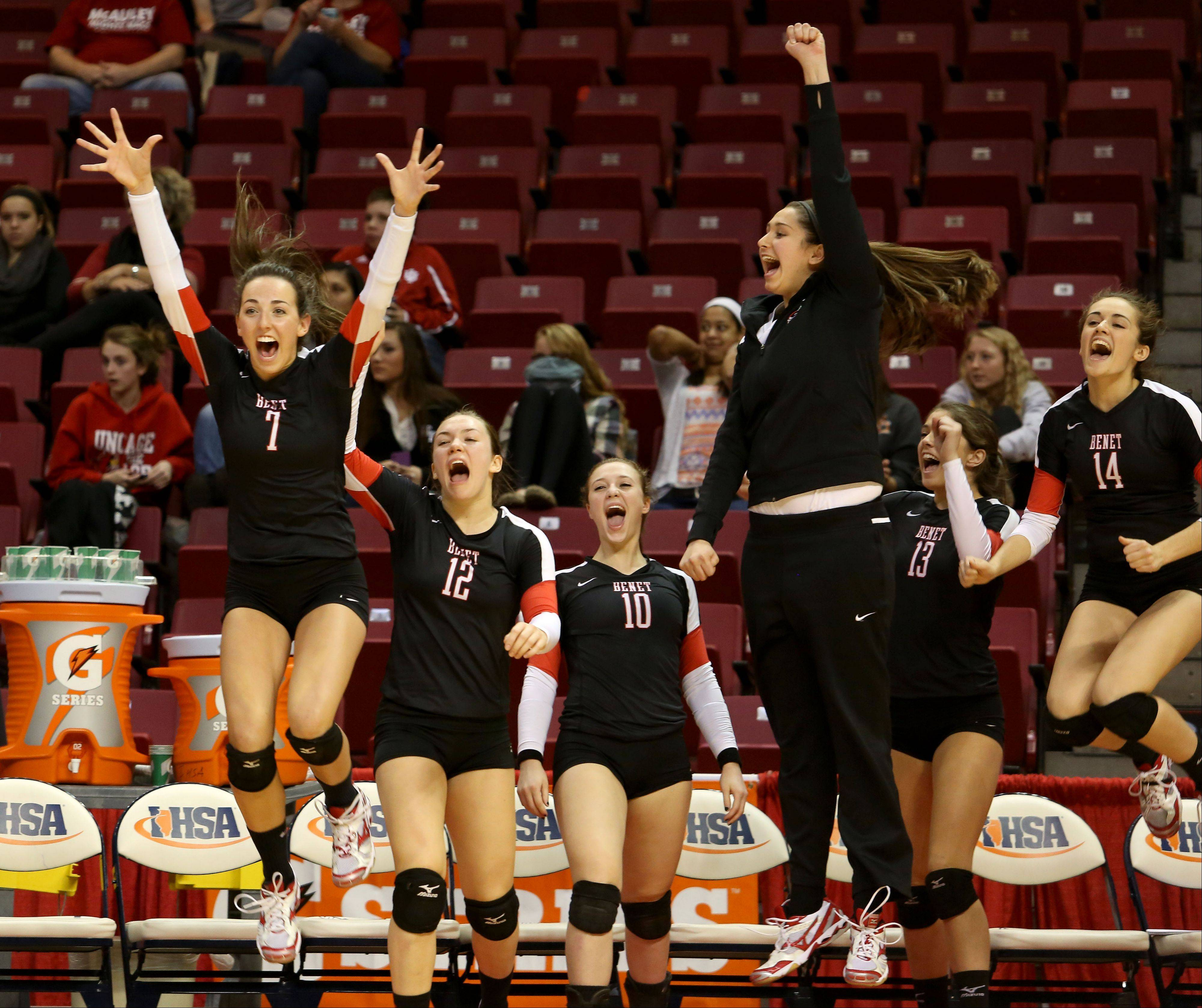 The Benet bench reacts after beating Crystal Lake South in Class 4A state girls volleyball semifinals on Friday in Normal.