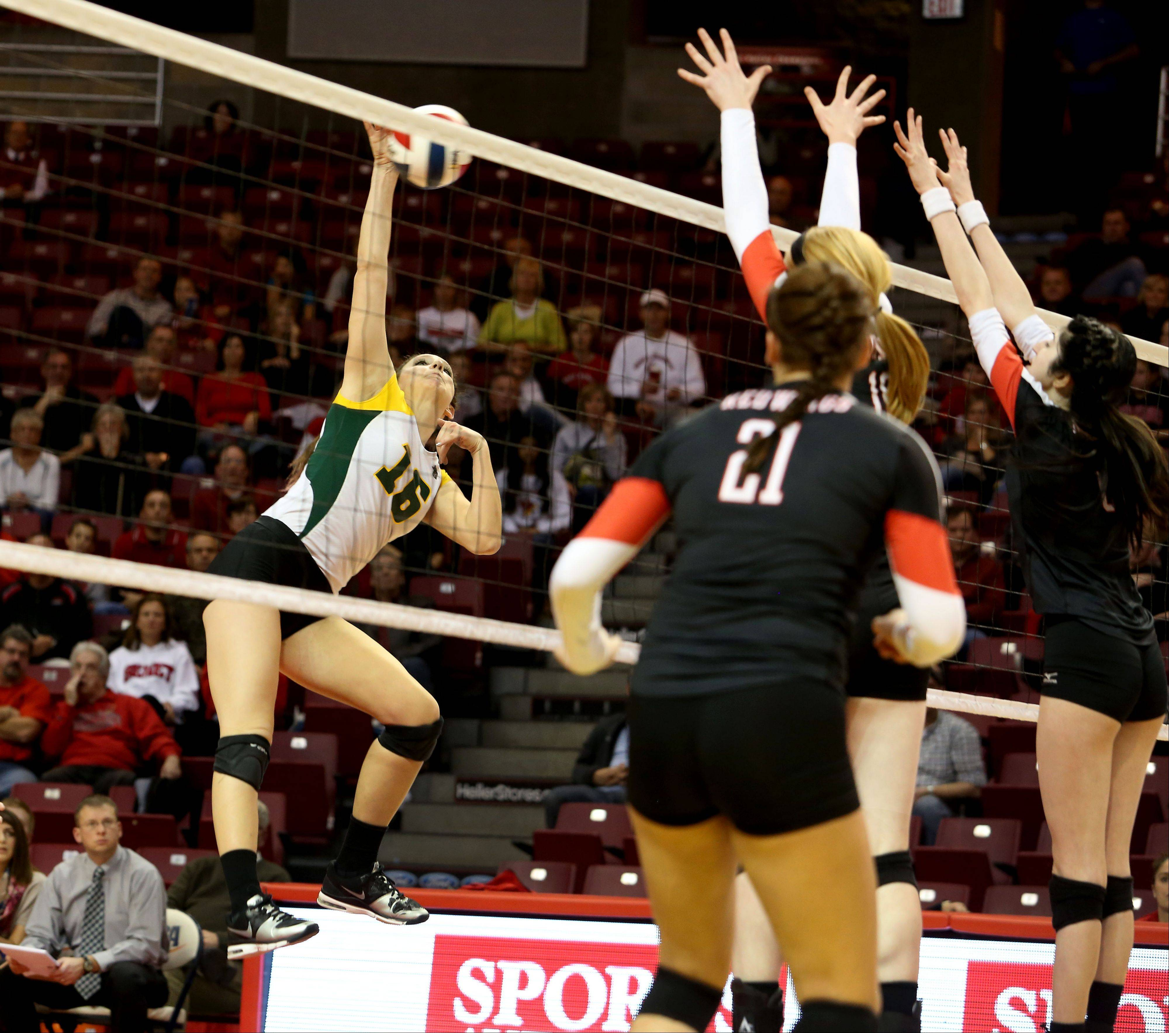 Carly Nolan of Crystal Lake South goes up to spike the ball against Benet in Class 4A state girls volleyball action on Friday in Normal.