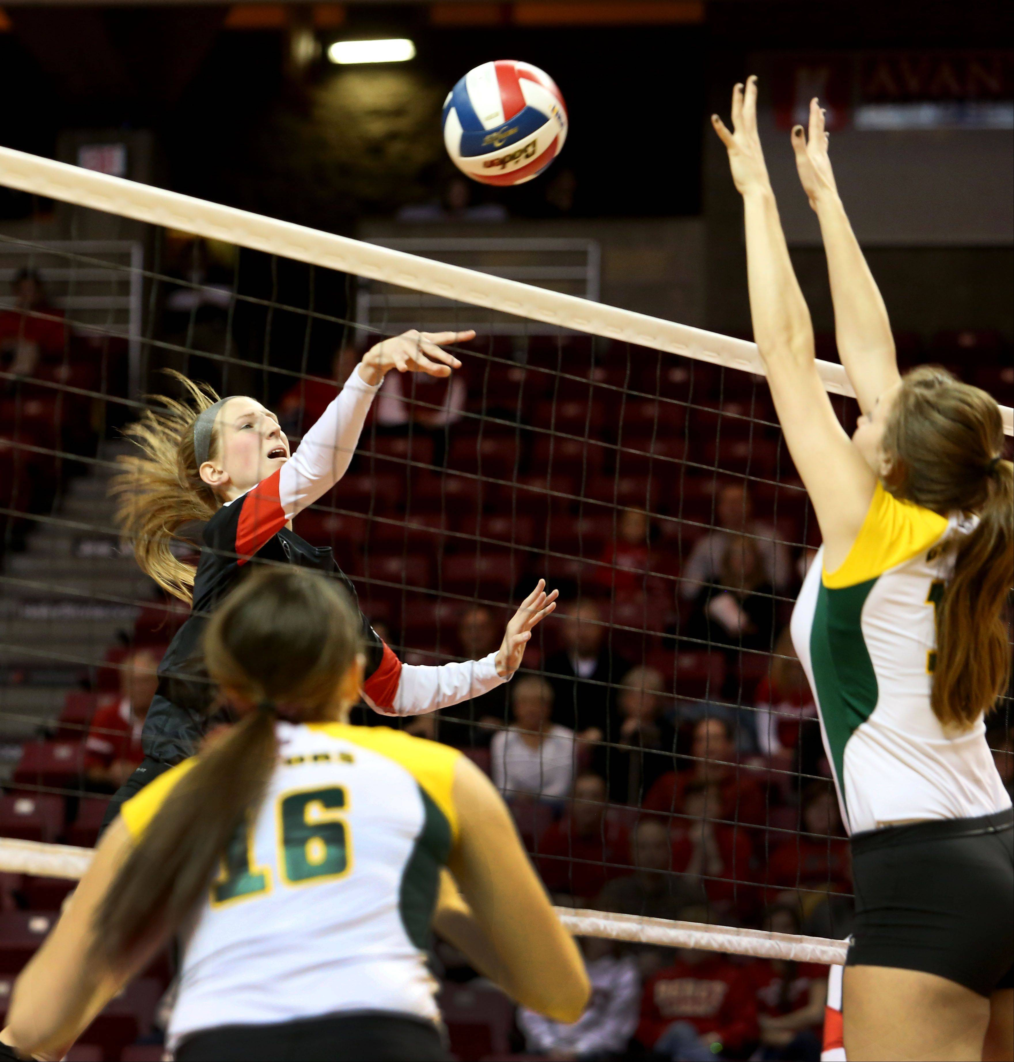 Marija Cyvas of Benet taps the ball to Crystal Lake South in Class 4A state girls volleyball action on Friday in Normal.