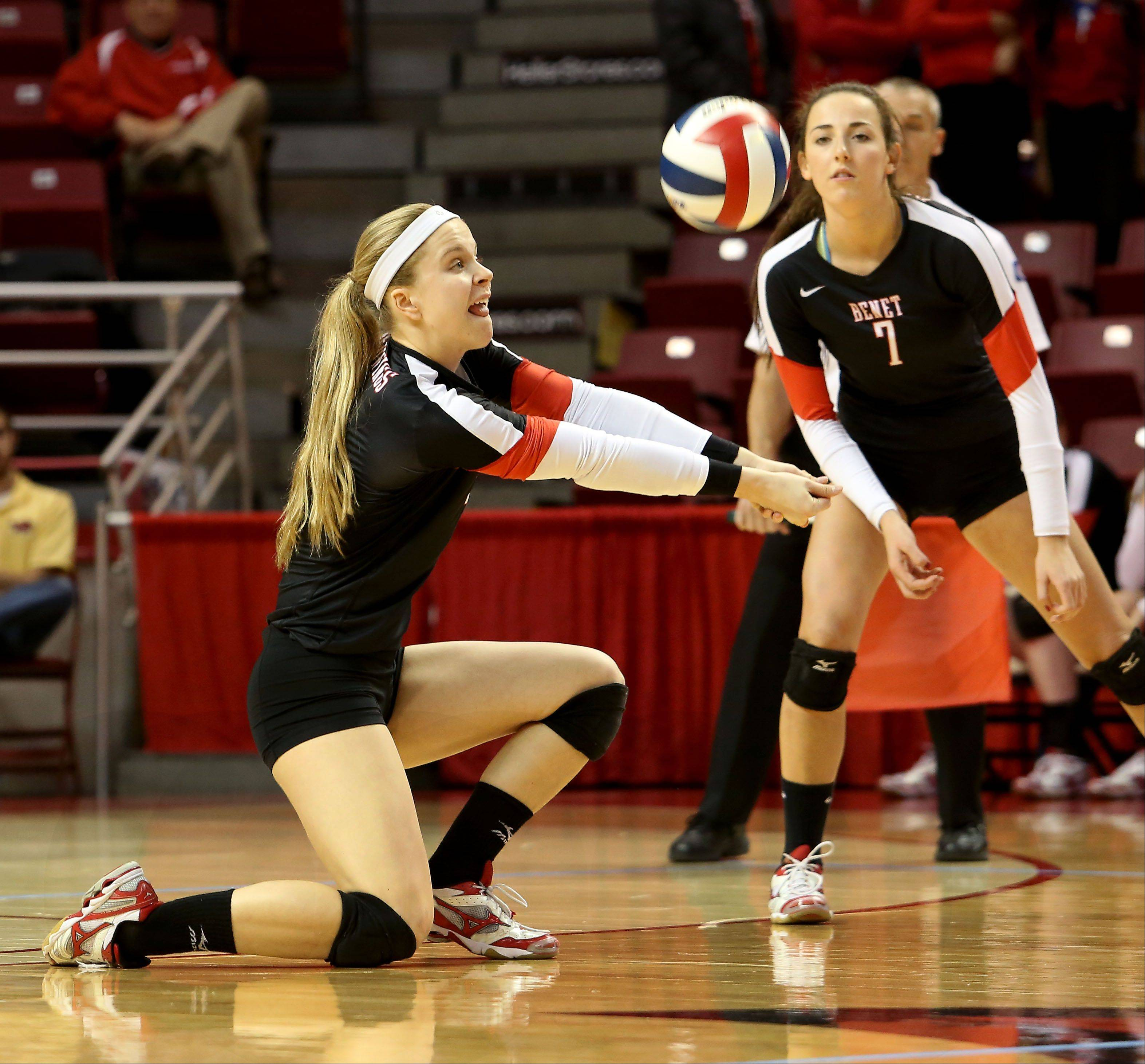 Tiffany Clark of Benet returns a serve from Crystal Lake South in Class 4A state girls volleyball action on Friday in Normal.