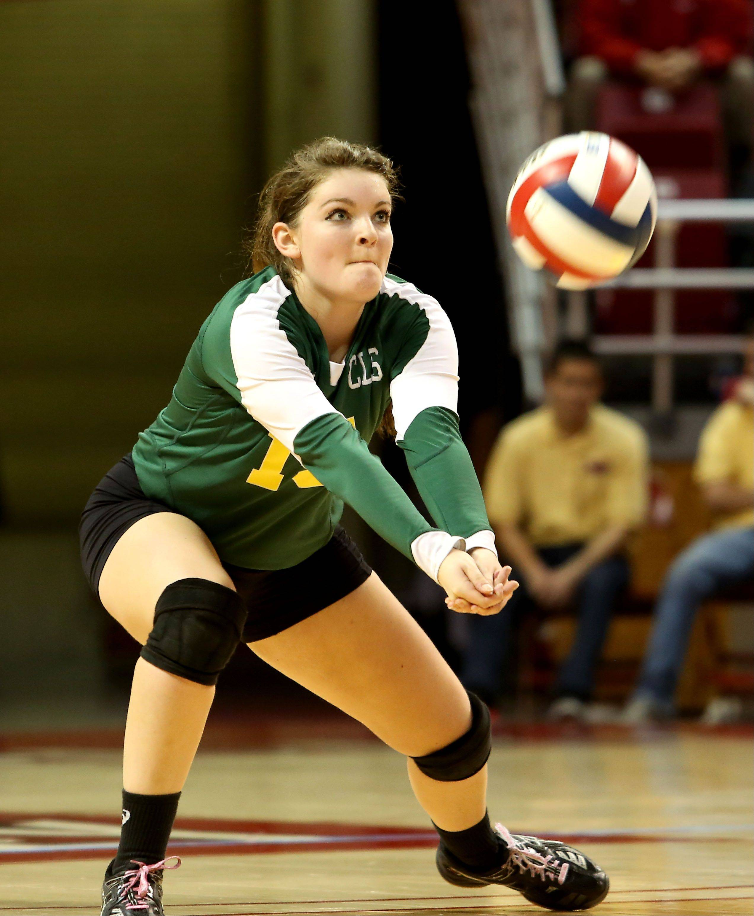 Hannah Wilson of Crystal Lake South returns a serve from Benet in Class 4A state girls volleyball action on Friday in Normal.