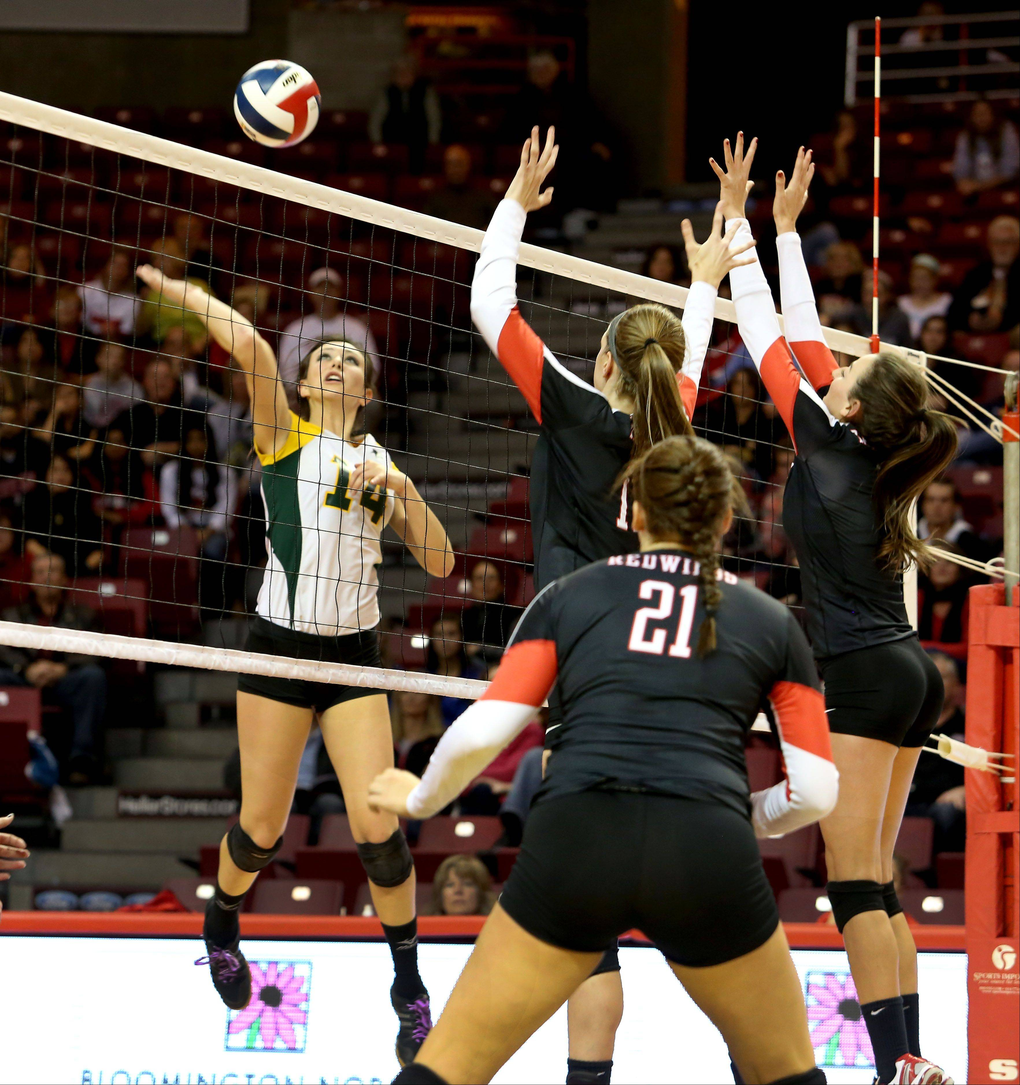 Avalon Nero of Crystal Lake South goes up to hit against Benet in Class 4A state girls volleyball action on Friday in Normal.