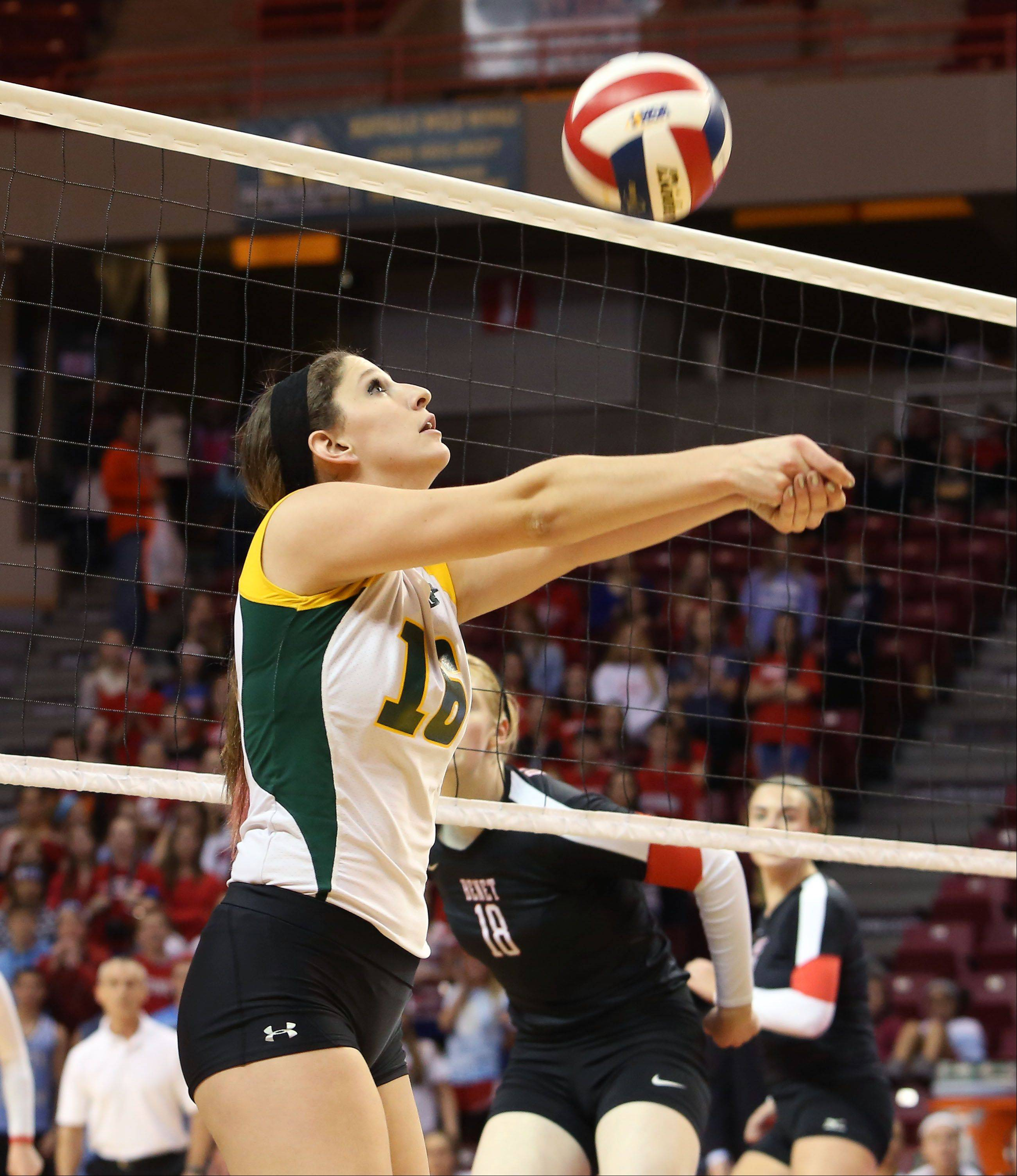 Carly Nolan of Crystal Lake South bumps the ball over to Benet in Class 4A state girls volleyball action on Friday in Normal.