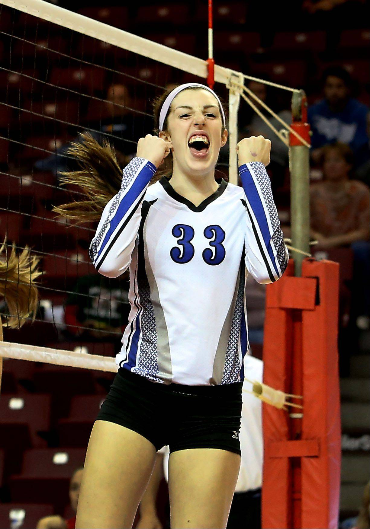 Laney Malloy of St. Francis reacts after winning a point over Breese Central in Class 3A state girls volleyball action on Friday in Normal.