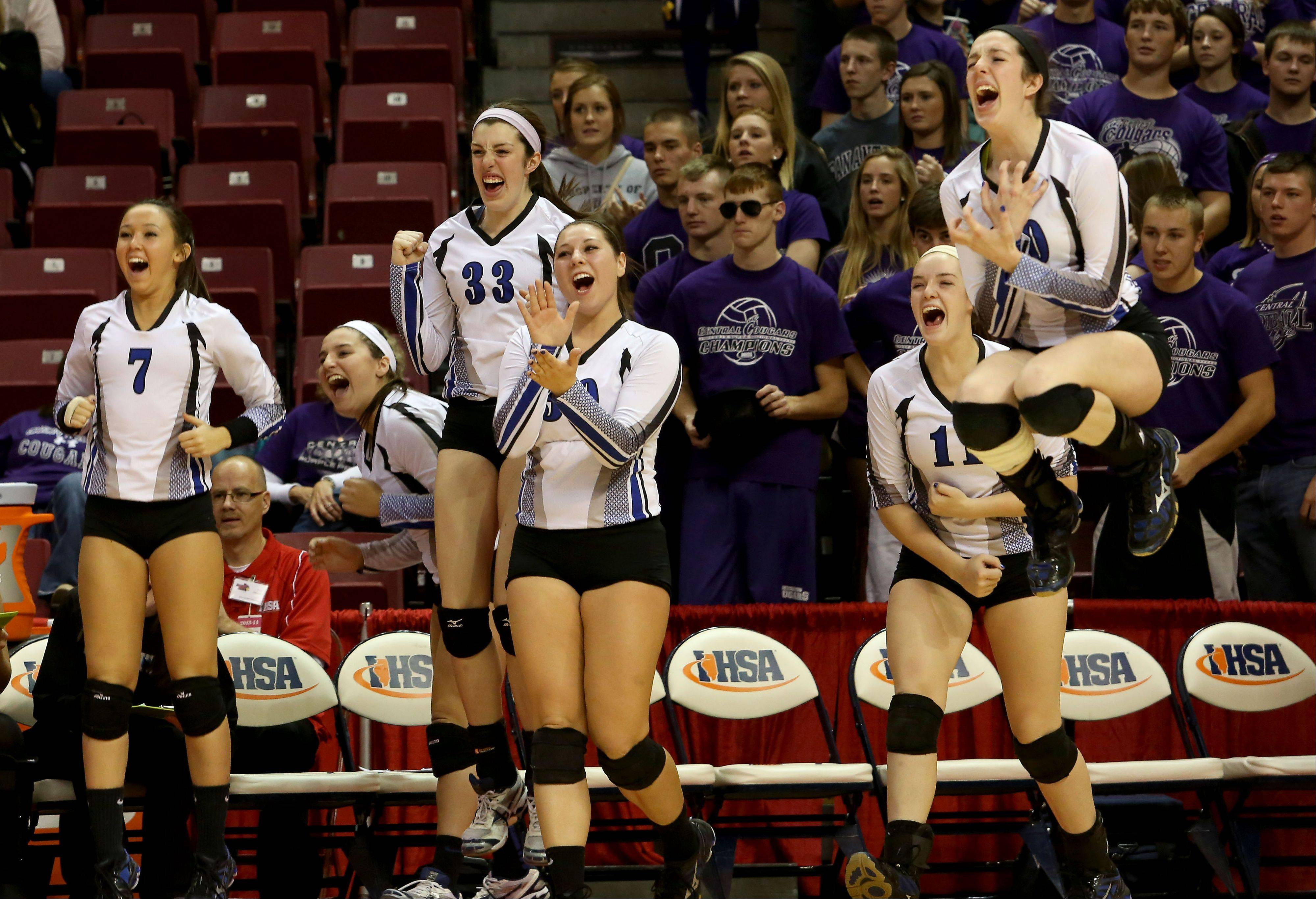 St. Francis reacts to its win over Breese Central in Class 3A state girls volleyball semifinals on Friday in Normal.