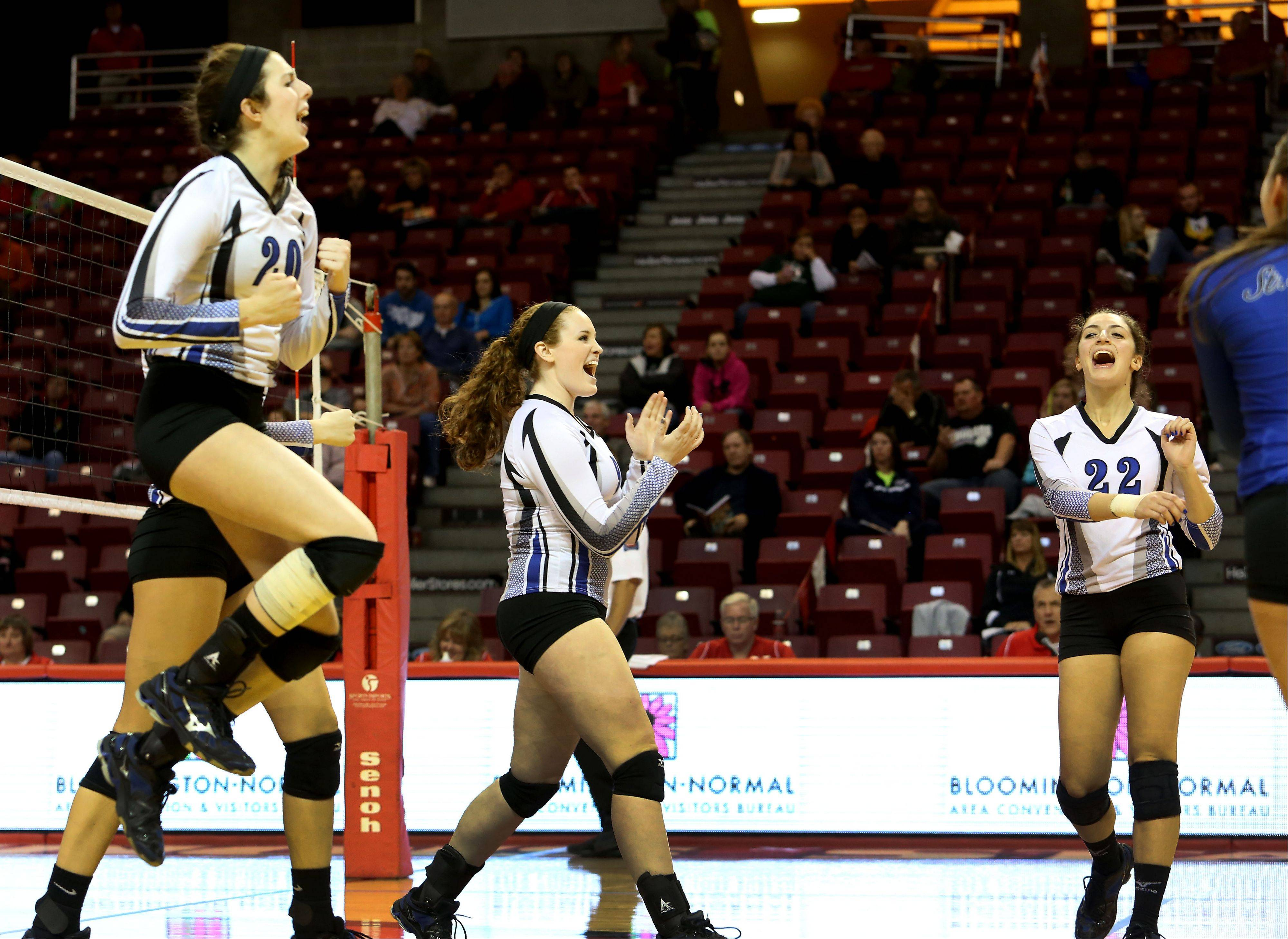 St. Francis reacts to a point won over Breese Central in Class 3A state girls volleyball action on Friday in Normal.