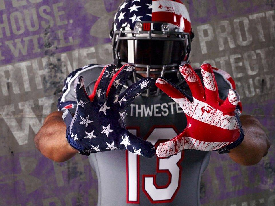 "Here's a look at the uniform that Northwestern will wear Saturday against Michigan to help raise support for Wounded Warrior Project. While some critics suggest the uniforms look like blood stains on a flag, a Northwestern spokesman said it's a ""distressed pattern on both the stars and stripes that was inspired by the appearance of a flag that has flown proudly over a long period of time"" and apologized ""for any misinterpretation."""