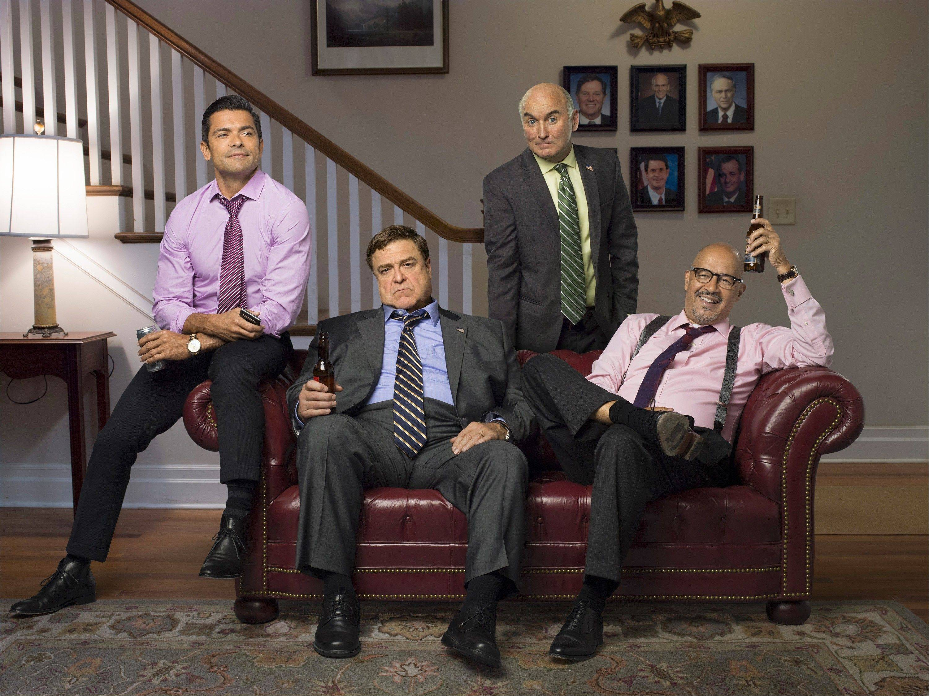 "The residents of the fictional Republican senators' ""Alpha House"" are, from left, Mark Consuelos, John Goodman, Matt Malloy and Clark Johnson. The video series, which makd its debut Friday, is Amazon Studios' first original program."