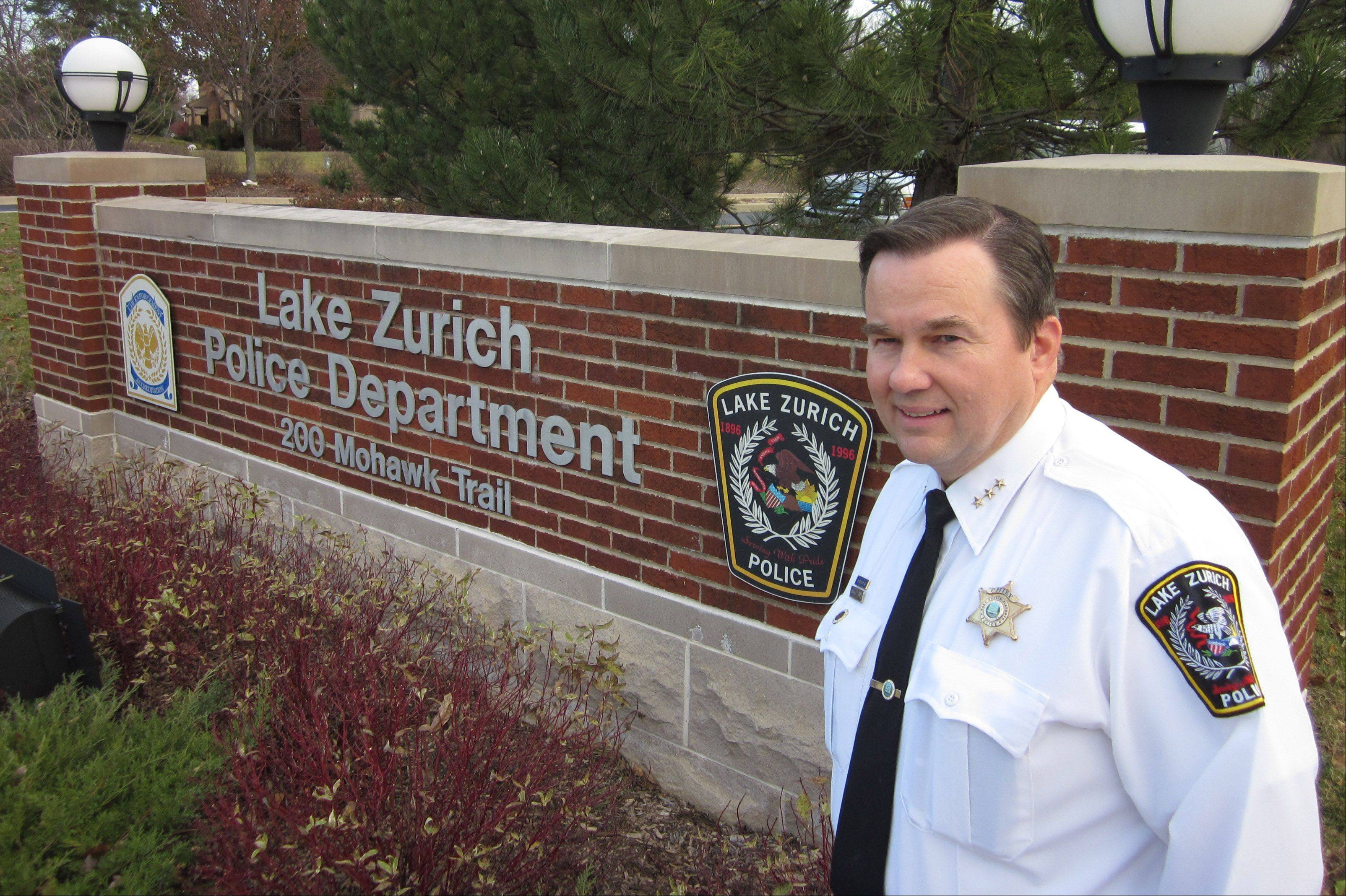 Lake Zurich Police Chief Patrick Finlon says he'll retire later this month. He's been chief since 2008 and with the village's police department for 29 years.