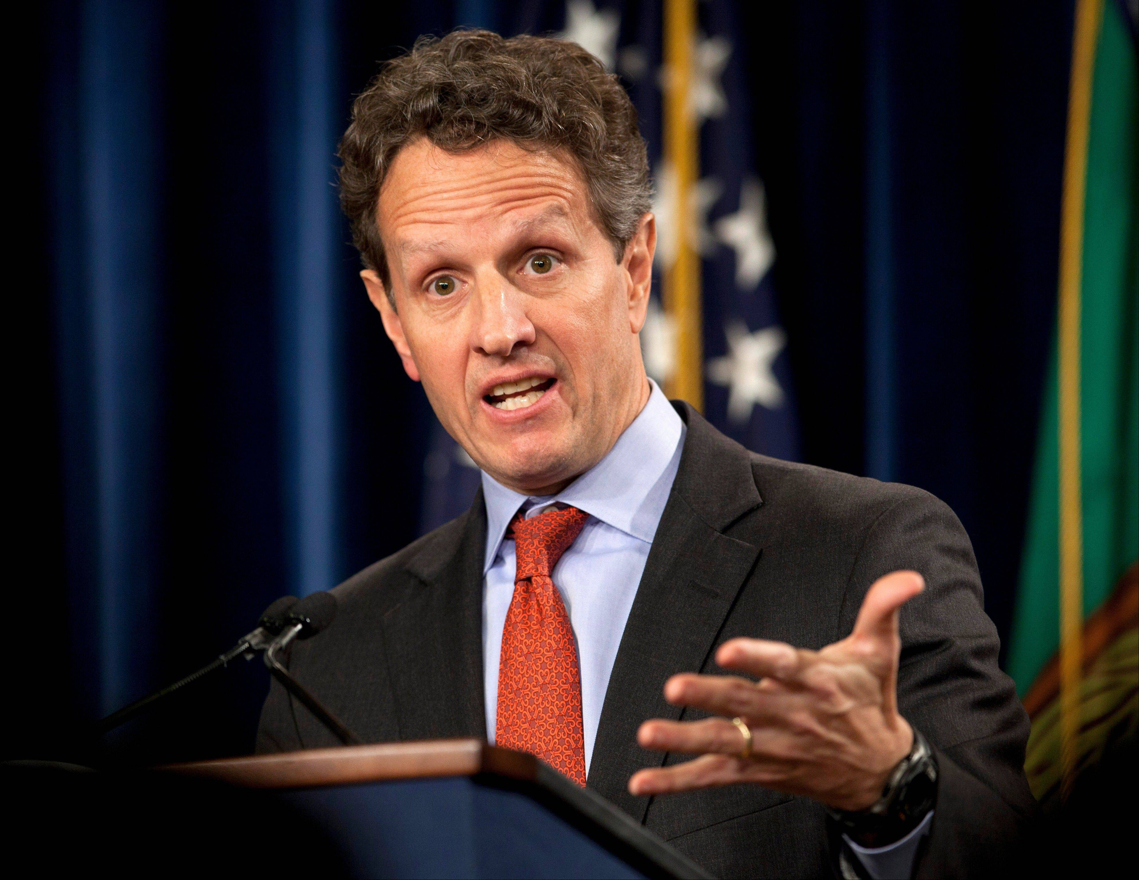 Associated Press/Feb. 2, 2012Then-Treasury Secretary Timothy Geithner during a news conference at the Treasury Department in Washington.