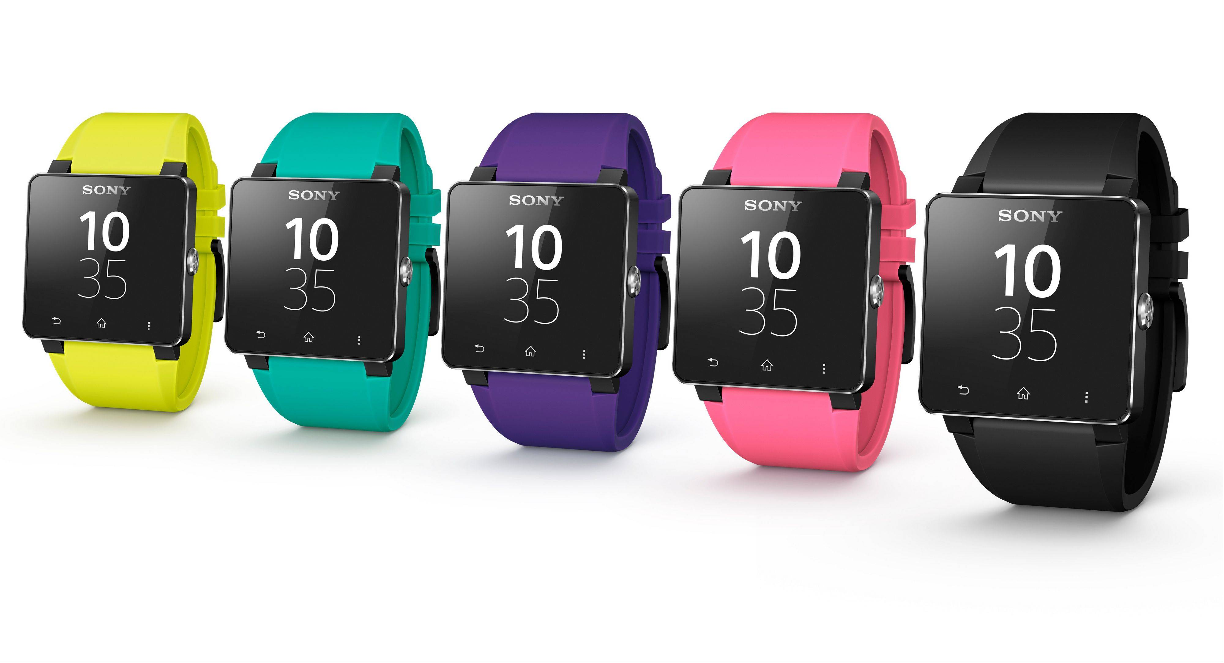 Sony's SmartWatch 2 comes in a variety of colors. Sony says its new computerized wristwatch will sell for $200 in the U.S. and will work with a variety of Android phones.