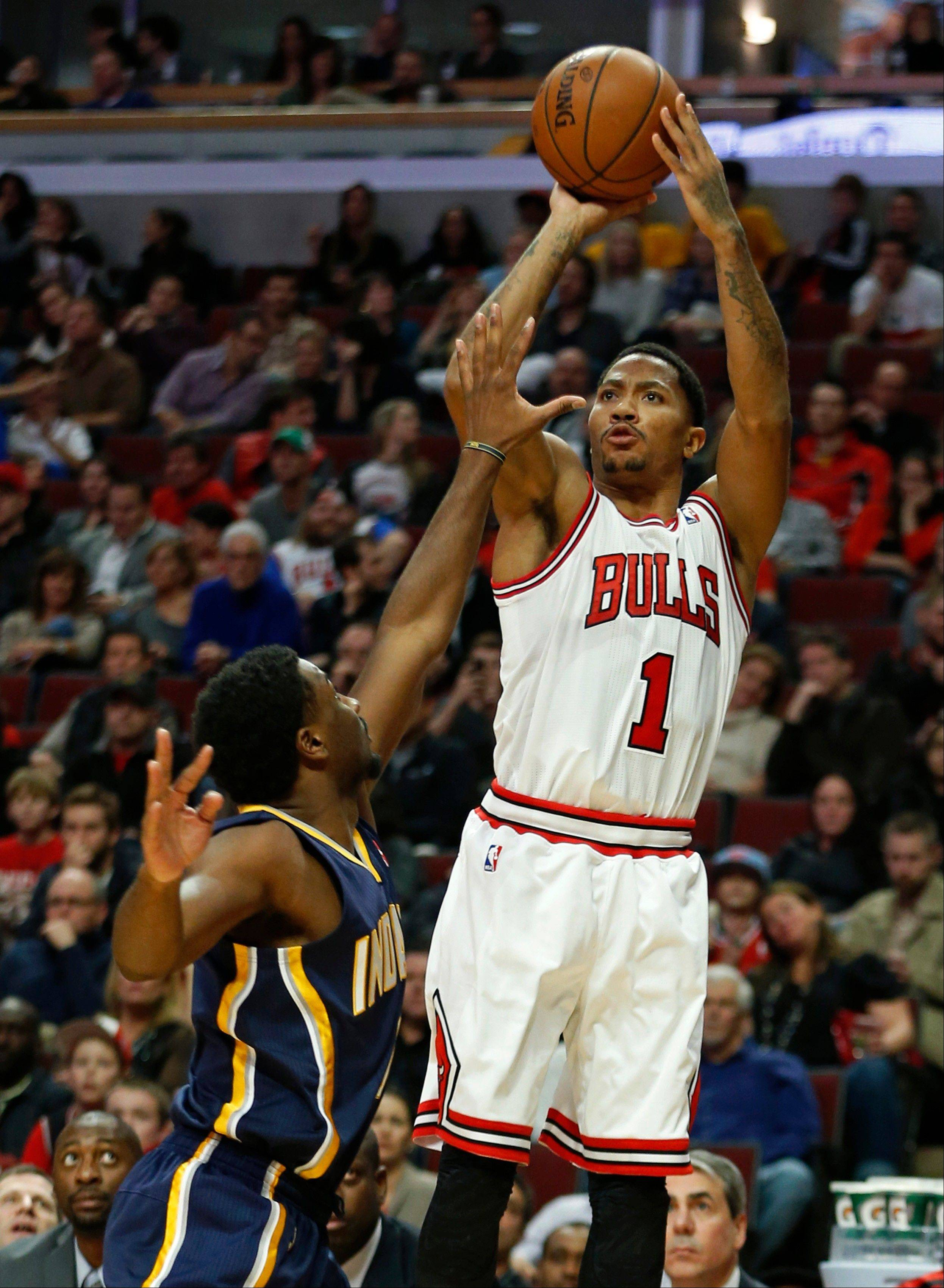 The Bulls' Derrick Rose went 6-for-11 on 3-pointers in Saturday night's rout of the previously unbeaten Pacers.