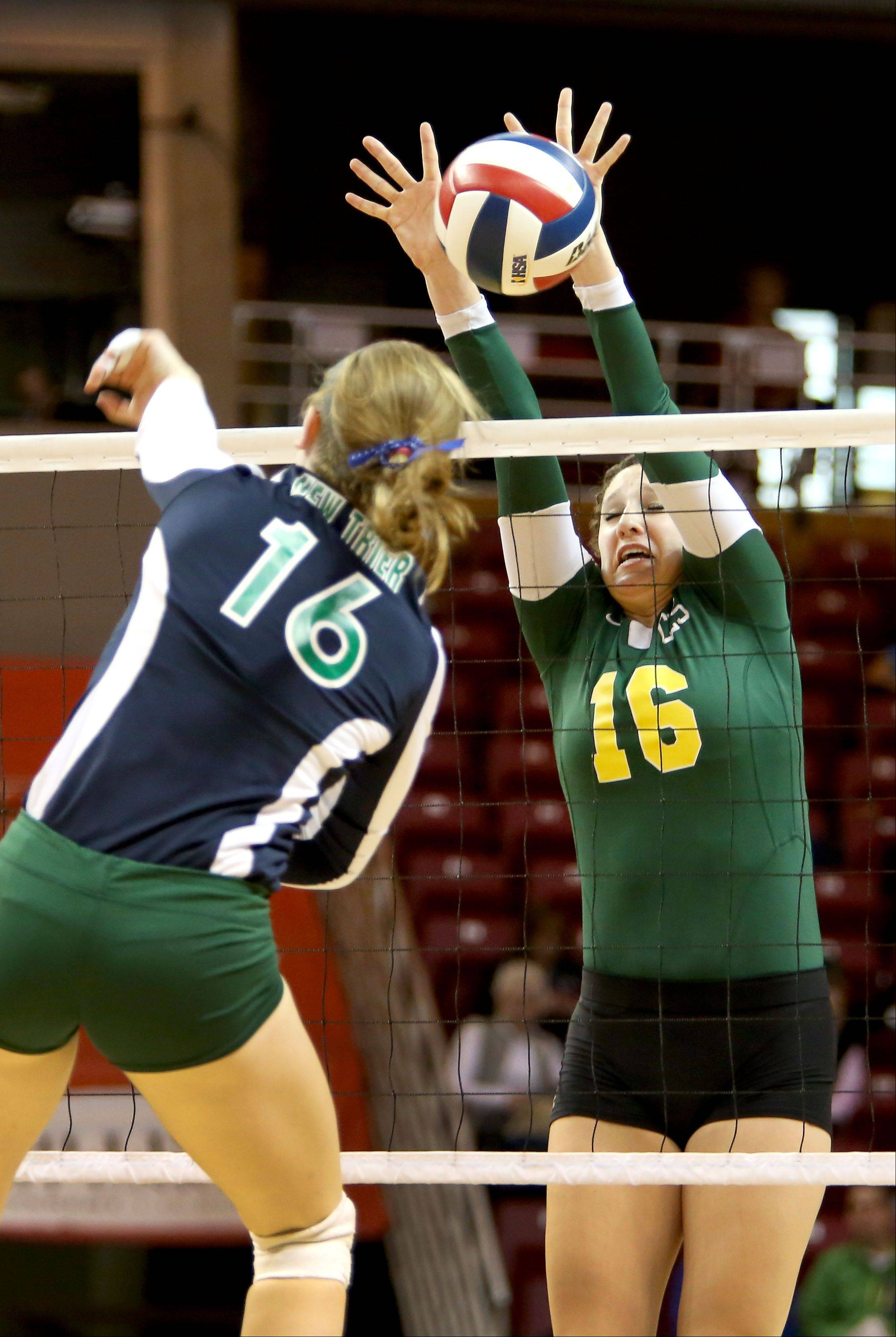 Carly Nolan of Crystal Lake South goes up to block a shot by New Trier in the Class 4A third place girls volleyball match on Saturday in Normal.