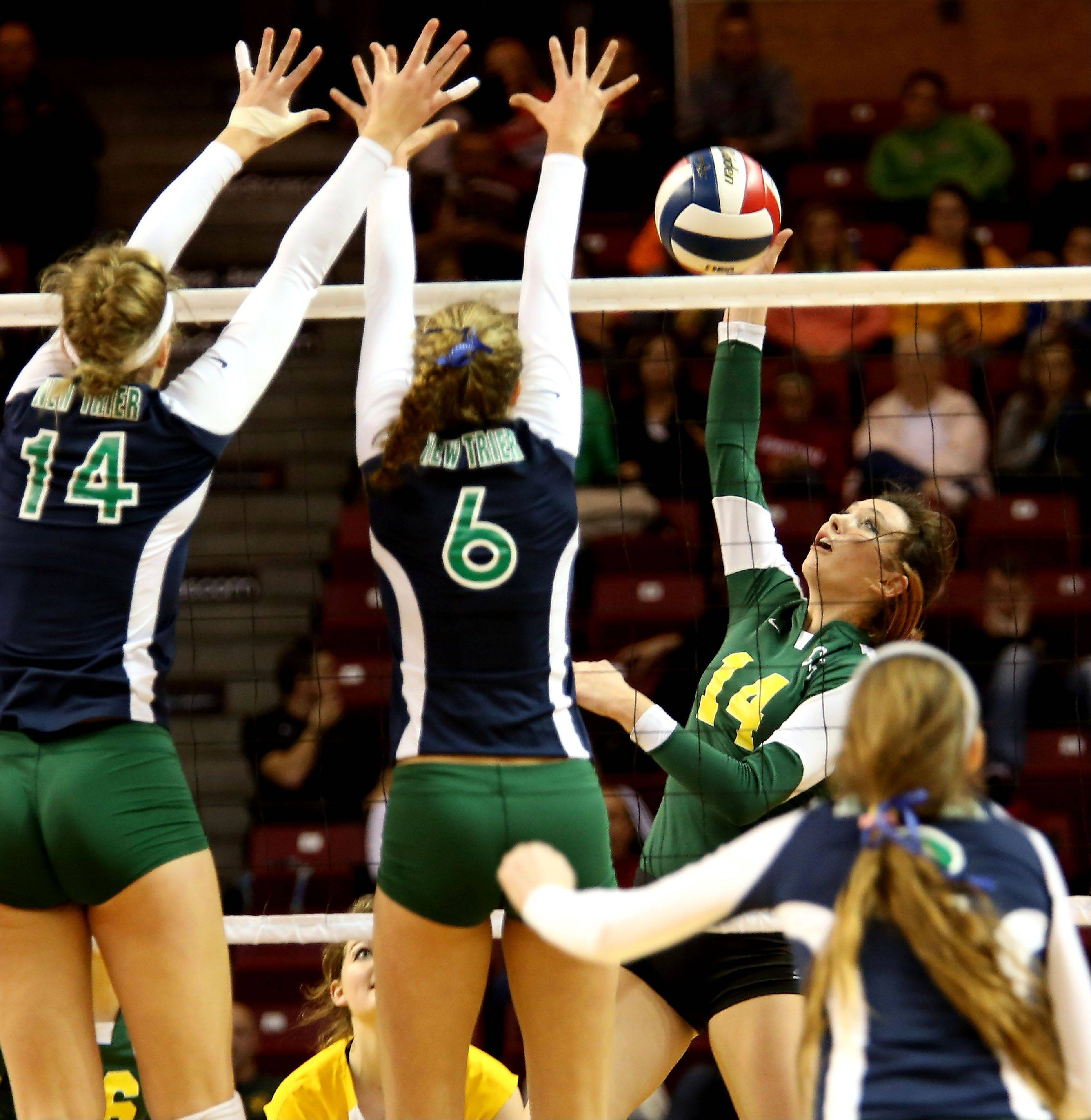 Avalon Nero of Crystal Lake South in action against New Trier in the Class 4A third place girls volleyball match on Saturday in Normal.