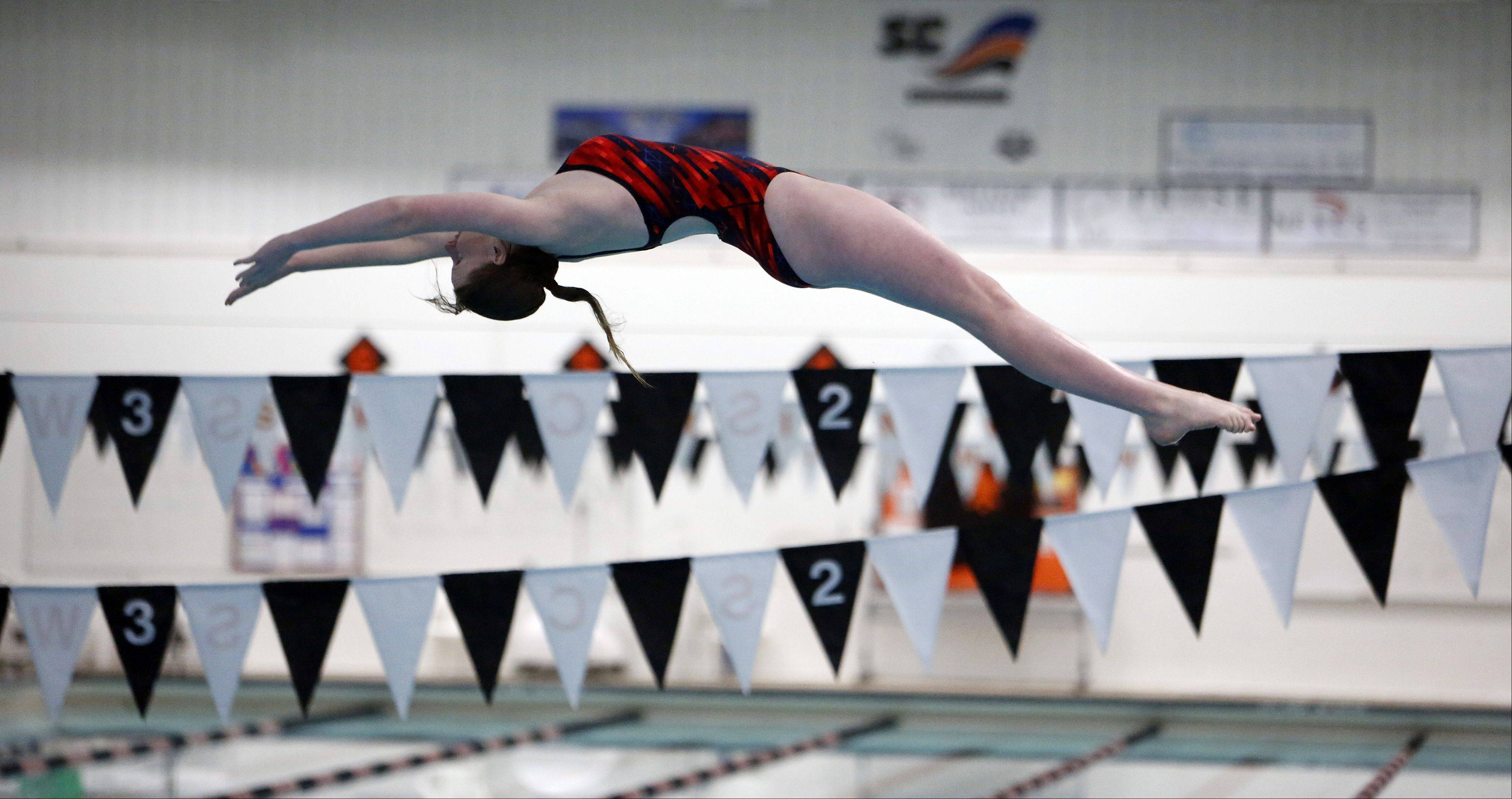 Katy Balk of South Elgin, during the IHSA Sectional girls swimming meet at St. Charles East Saturday.