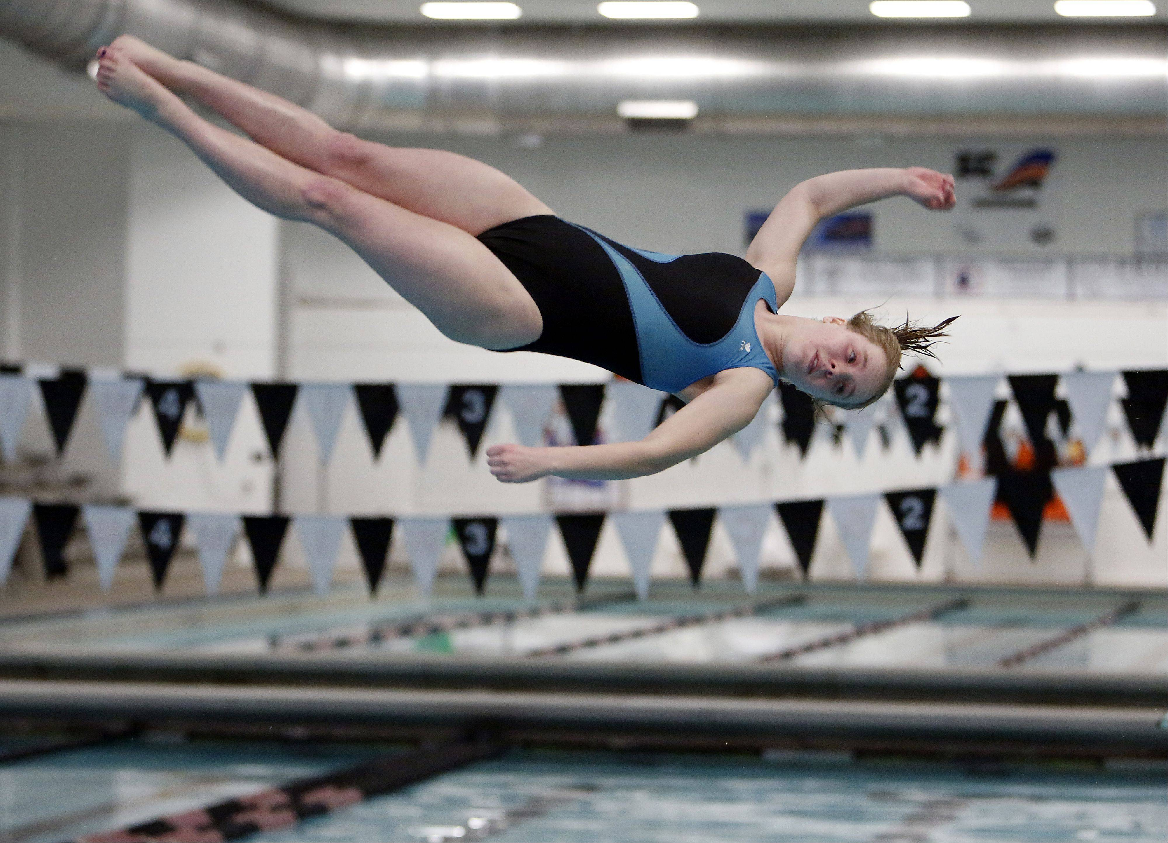 Natalie Williams of Geneva, during the IHSA Sectional girls swimming meet at St. Charles East Saturday.