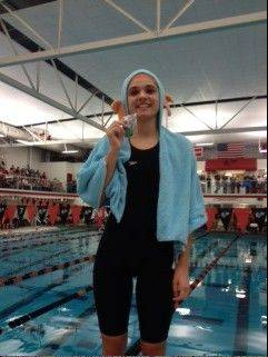 Buffalo Grove's Sarah Morosan enjoys her fifth-place finish on Saturday at Barrington after qualifying for the state meet in the 50-yard freestyle.
