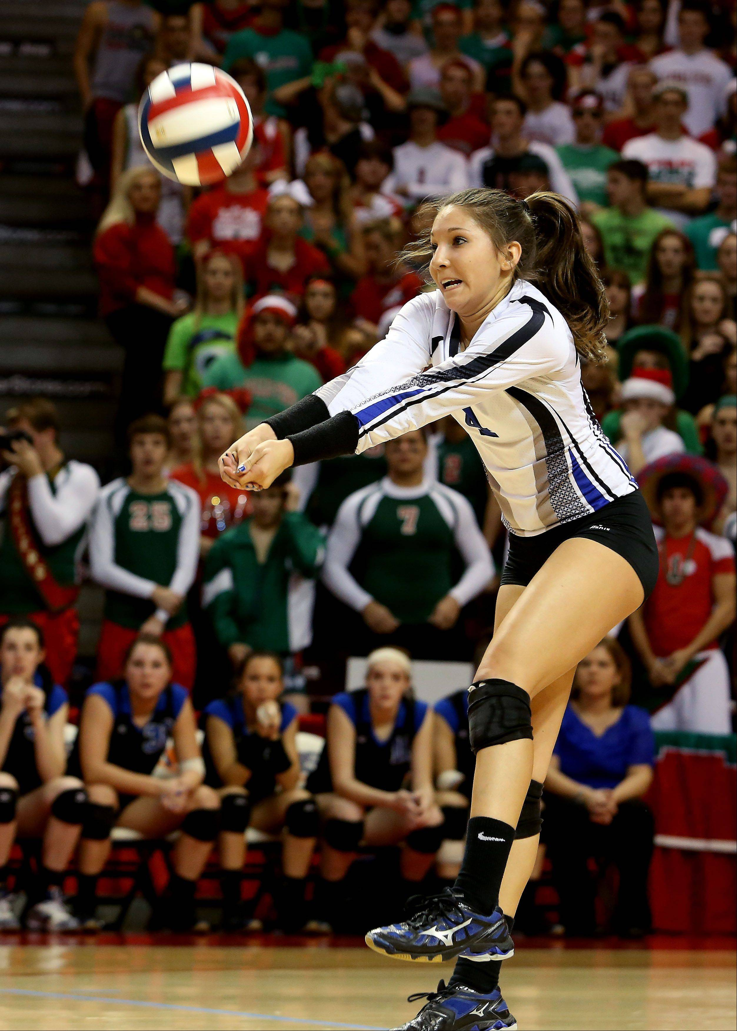 Sam Dubiel of St. Francis returns a shot from LaSalle-Peru in the Class 3A championship girls volleyball match on Saturday in Normal.