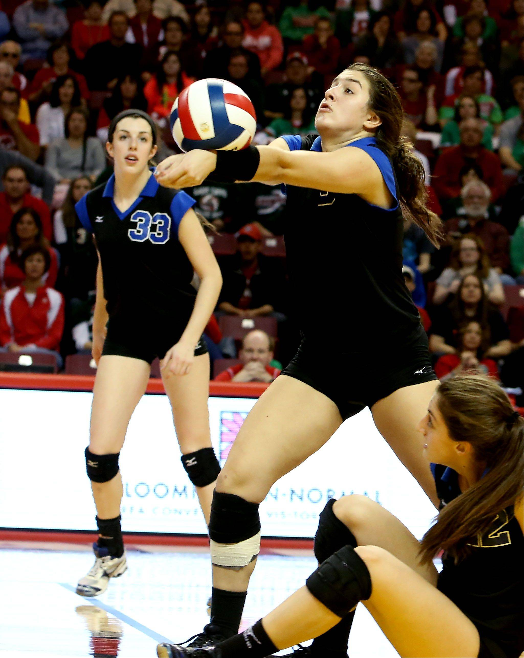 Lisa Mordell of St. Francis returns a serve from LaSalle-Peru in the Class 3A championship girls volleyball match on Saturday in Normal.