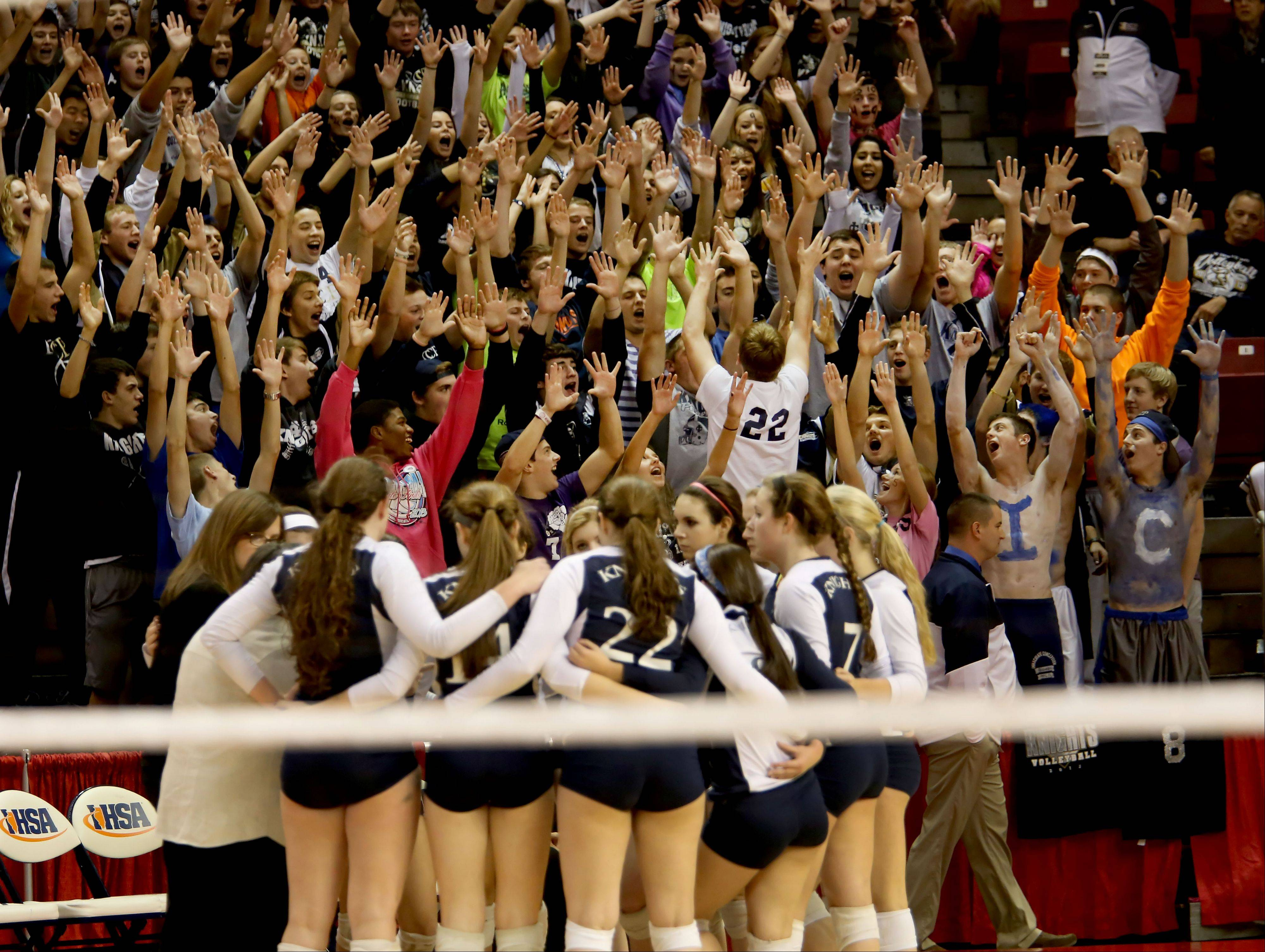 IC Catholic and fans in the Class 2A championship girls volleyball match on Saturday in Normal.