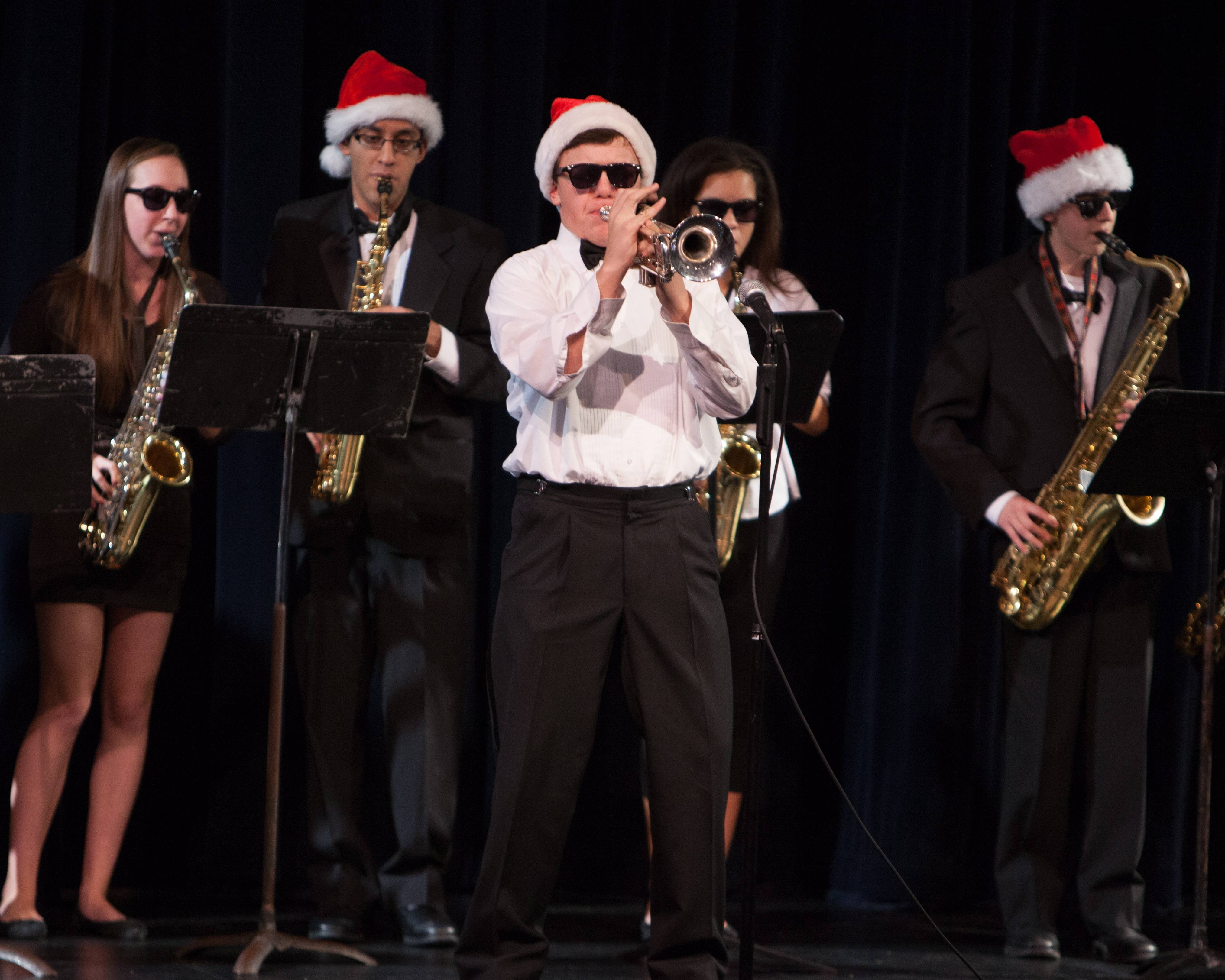 Members of the Wheeling High School Jazz Band
