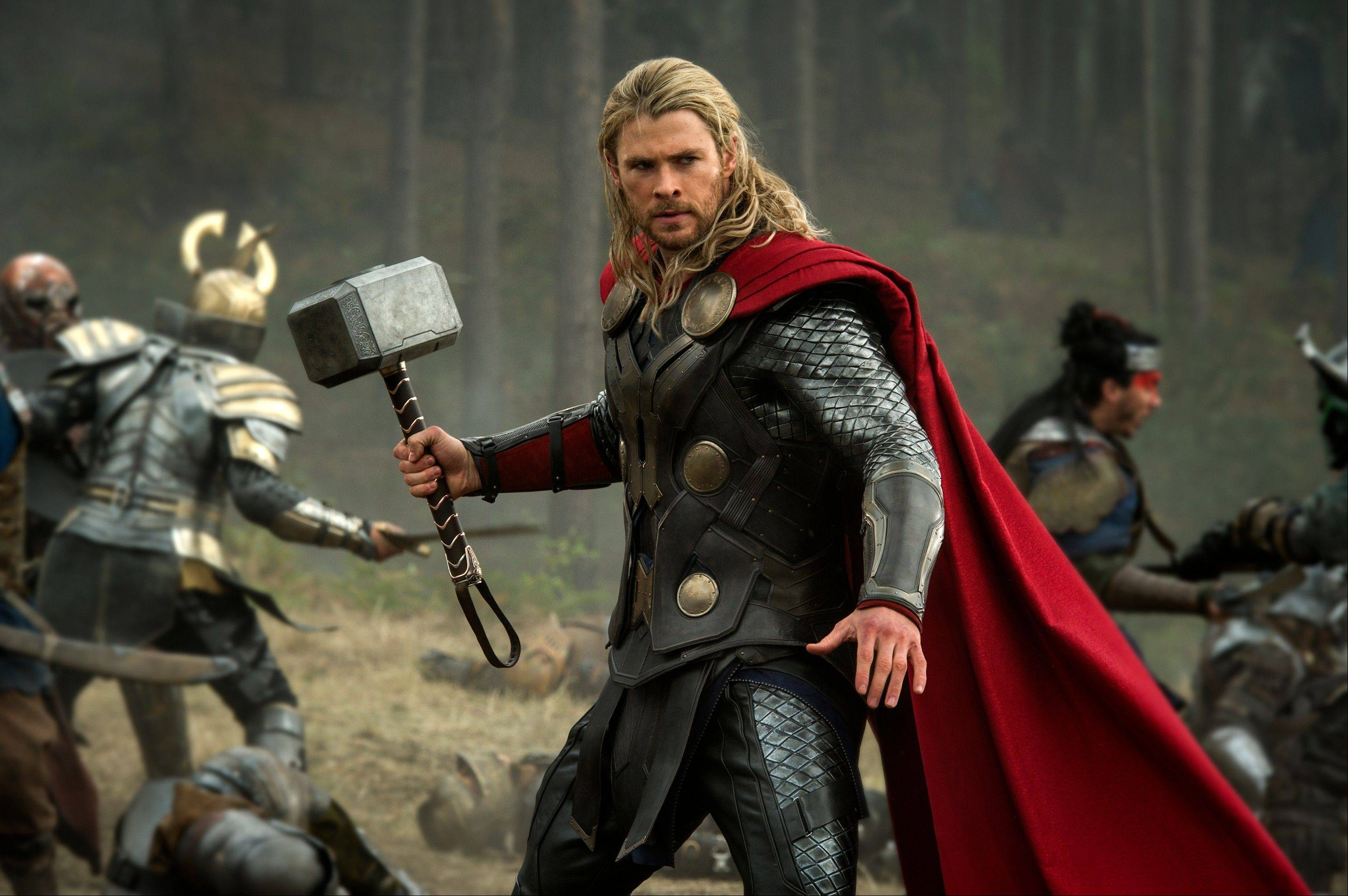 "This publicity file photo released by Walt Disney Studios and Marvel shows Chris Hemsworth in a scene from ""Thor: The Dark World."" ""Thor: The Dark World"" continued its box-office reign with $38.5 million in its second week, holding off ì""he Best Man Holiday,"" according to studio estimates Sunday."