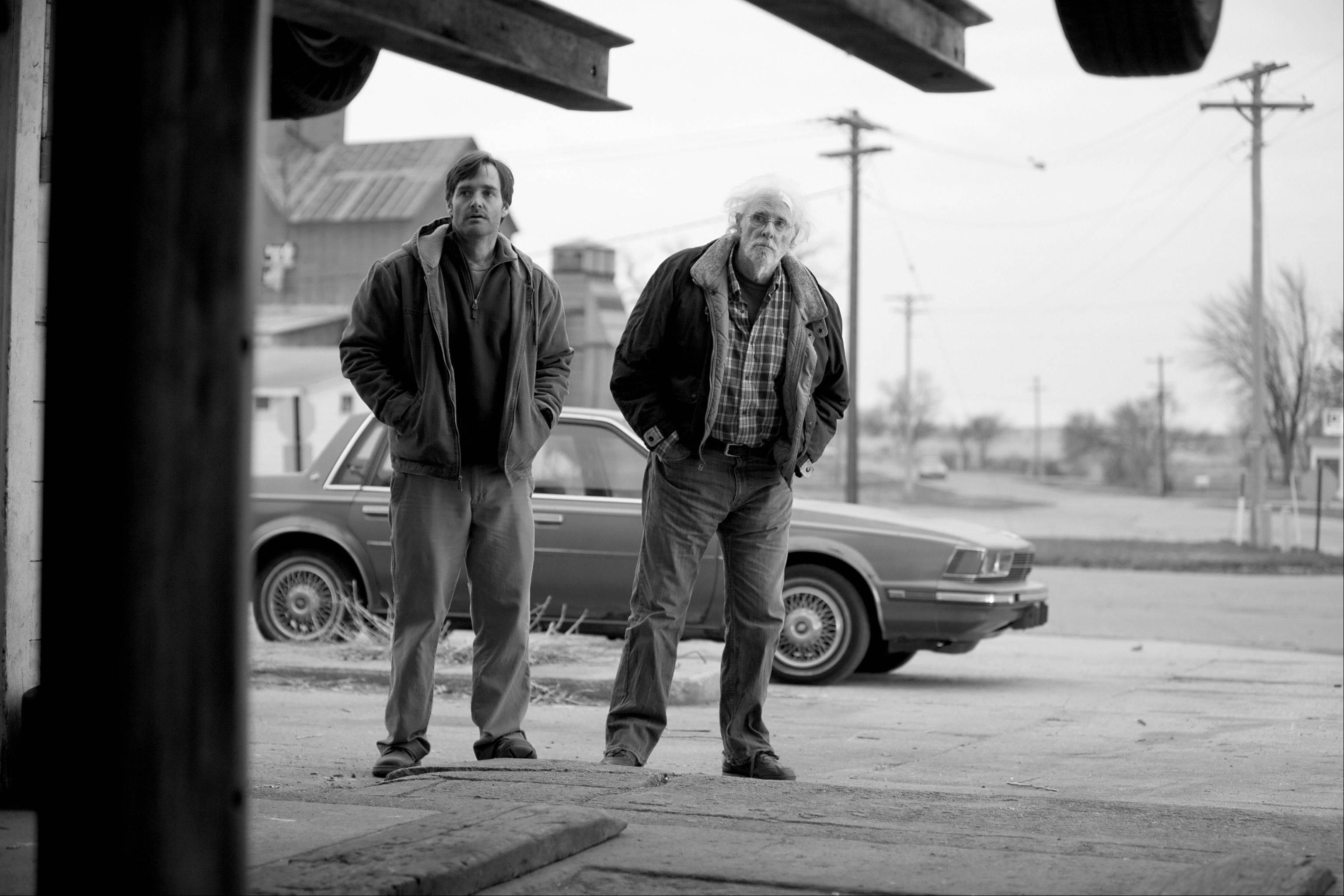 "Will Forte plays David Grant, left, and Bruce Dern plays Woody Grant in ""Nebraska,"" about a booze-addled father who makes to Nebraska with his estranged son in order to claim a million dollar Mega Sweepstakes Marketing prize."