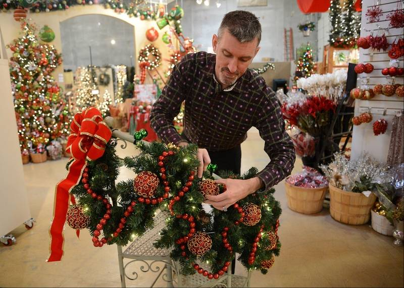 Designer James Whitehead Of Treetime Christmas Creations In Lake Barrington Puts Together A Display Garland