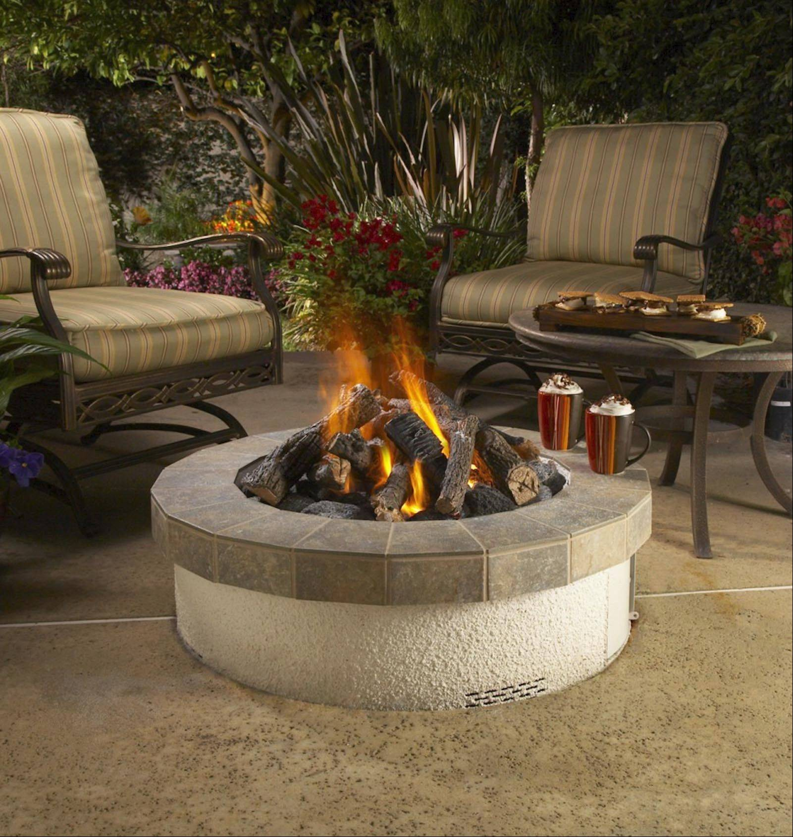 Some fire pits are manufactured as self-contained units easily inserted into paving or deck.