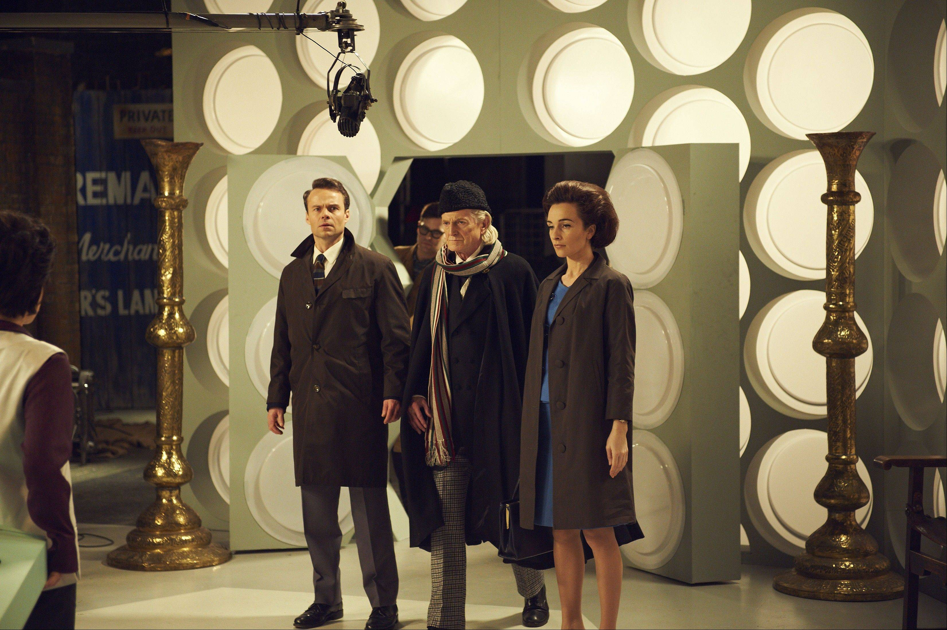 "HAL SHINNIE/BBC WORLDWIDEBBC America will air ""An Adventure in Space and Time"" starring Jamie Glover, left, as William Russell; David Bradley as William Hartnell; and Jemma Powell as Jacqueline Hill. The sci-fi series celebrates its 50th anniversary Saturday, Nov. 23."